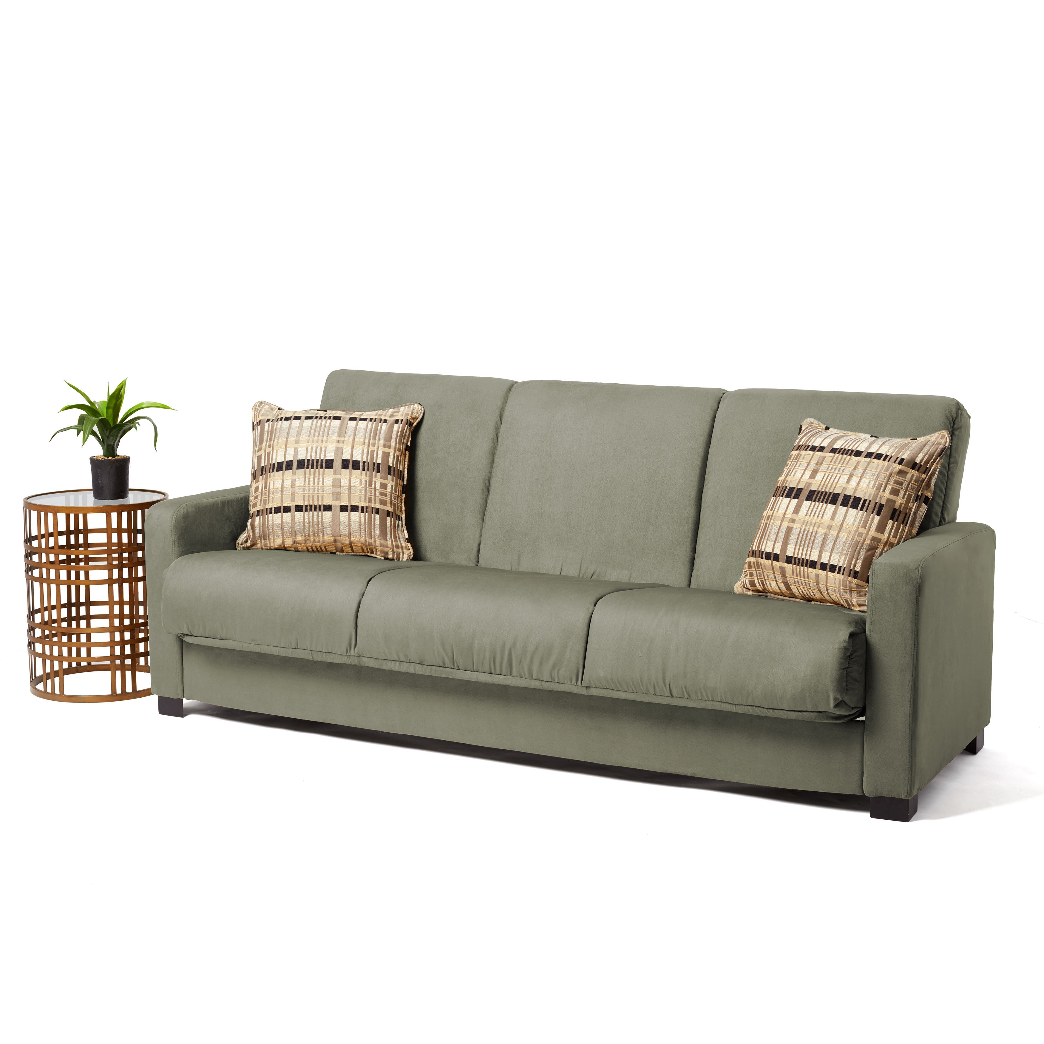 Handy Living Trace Convert a Couch Sage Grey Microfiber Futon Sofa