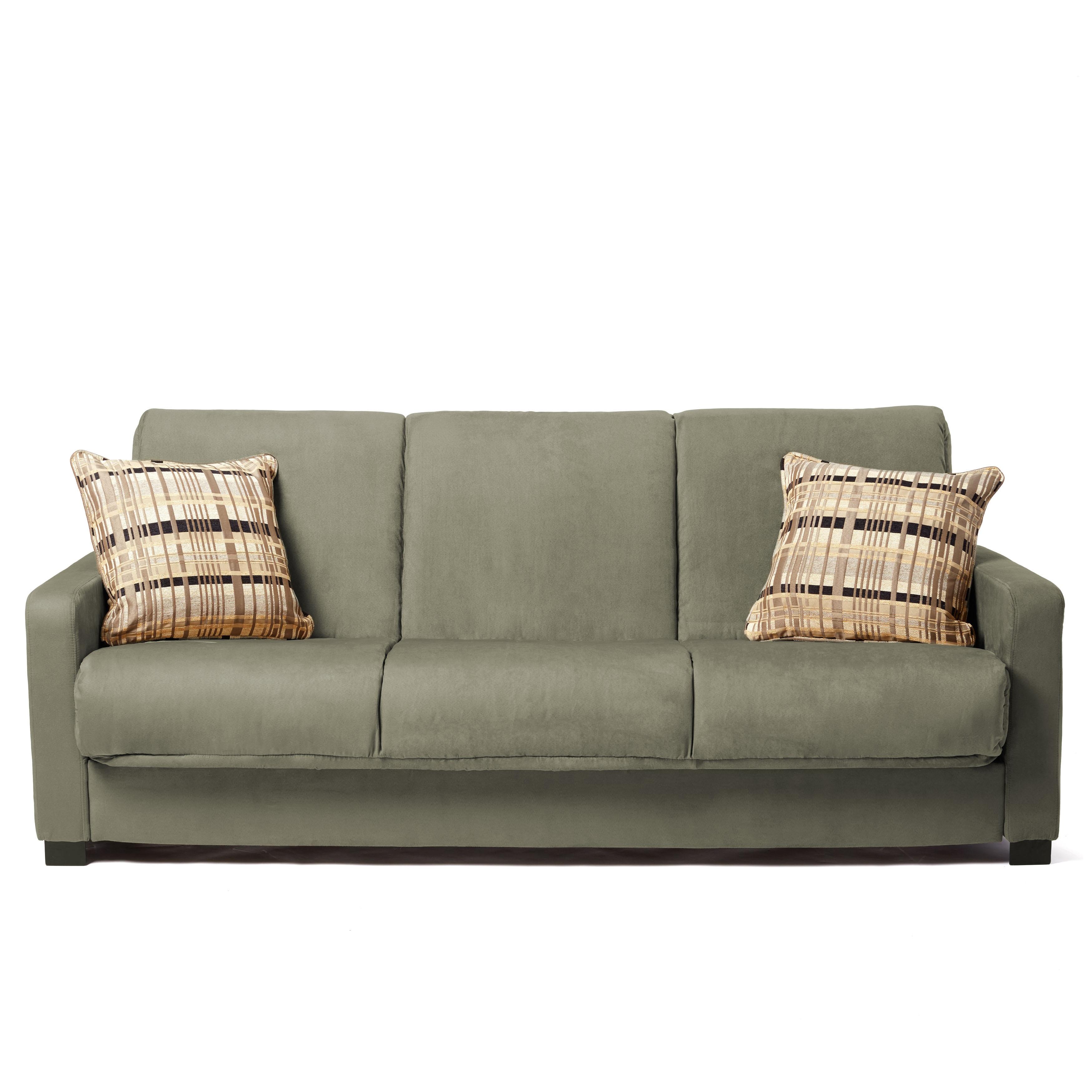 Handy Living Trace ConvertaCouch Sage Grey Microfiber Futon Sofa