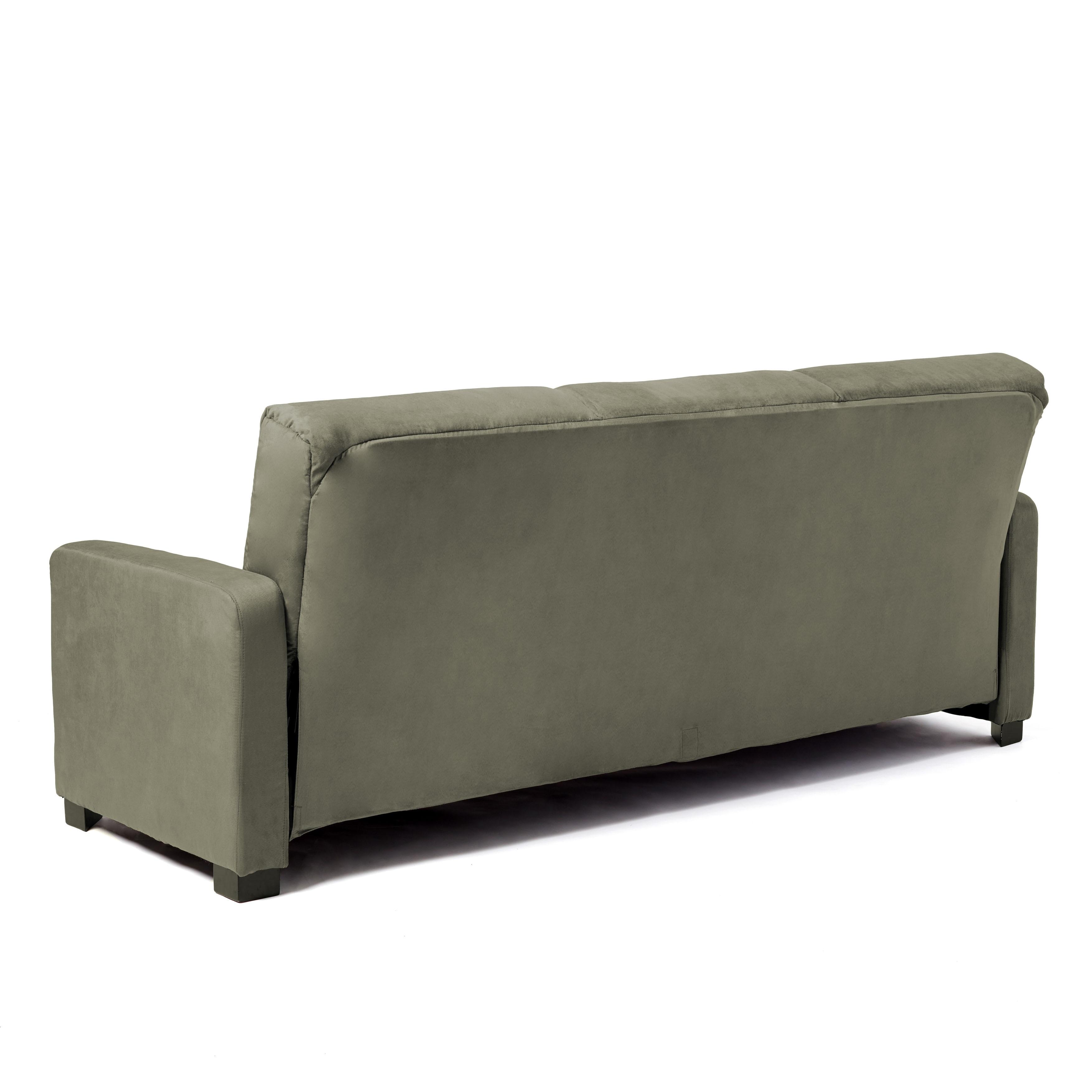 Shop Handy Living Trace Convert A Couch Sage Grey Microfiber Futon