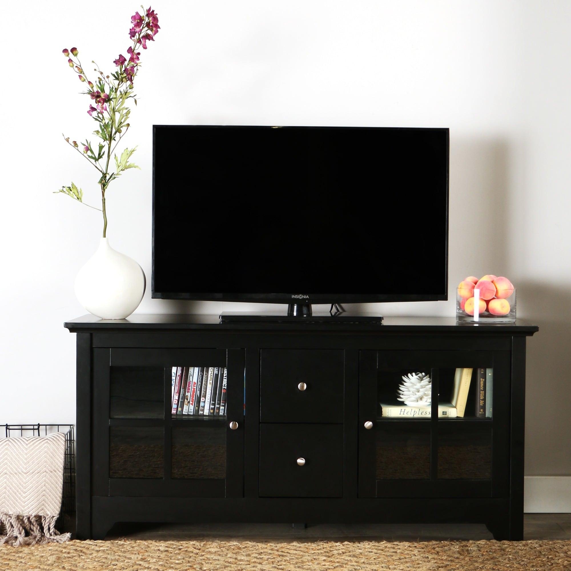 Shop Porch Den Leona 52 Inch Black Solid Wood Tv Stand On Sale