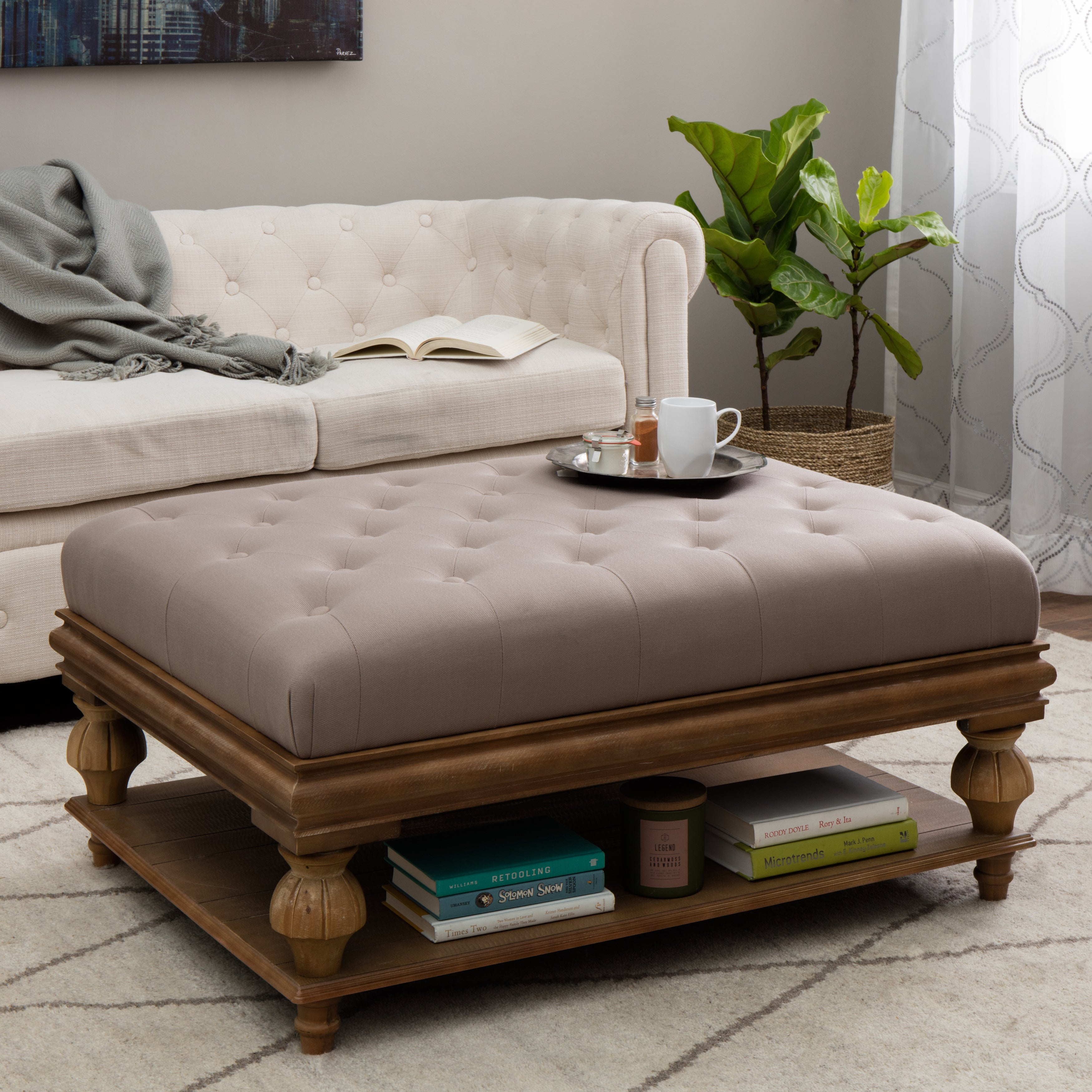 Elements Rubbed Light Brown Wood Ottoman w Taupe Cushion Free
