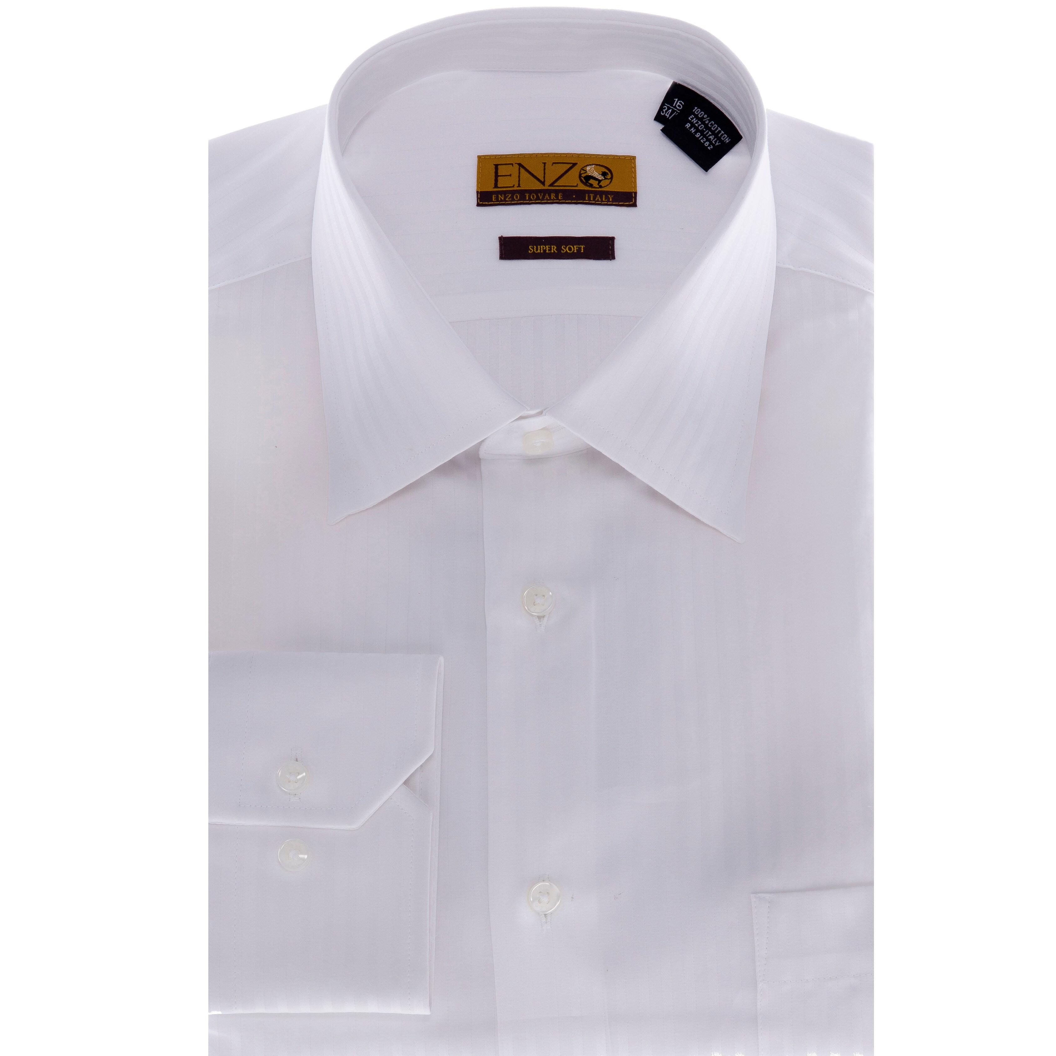 Shop Mens White Tonal Striped Dress Shirt Free Shipping Today
