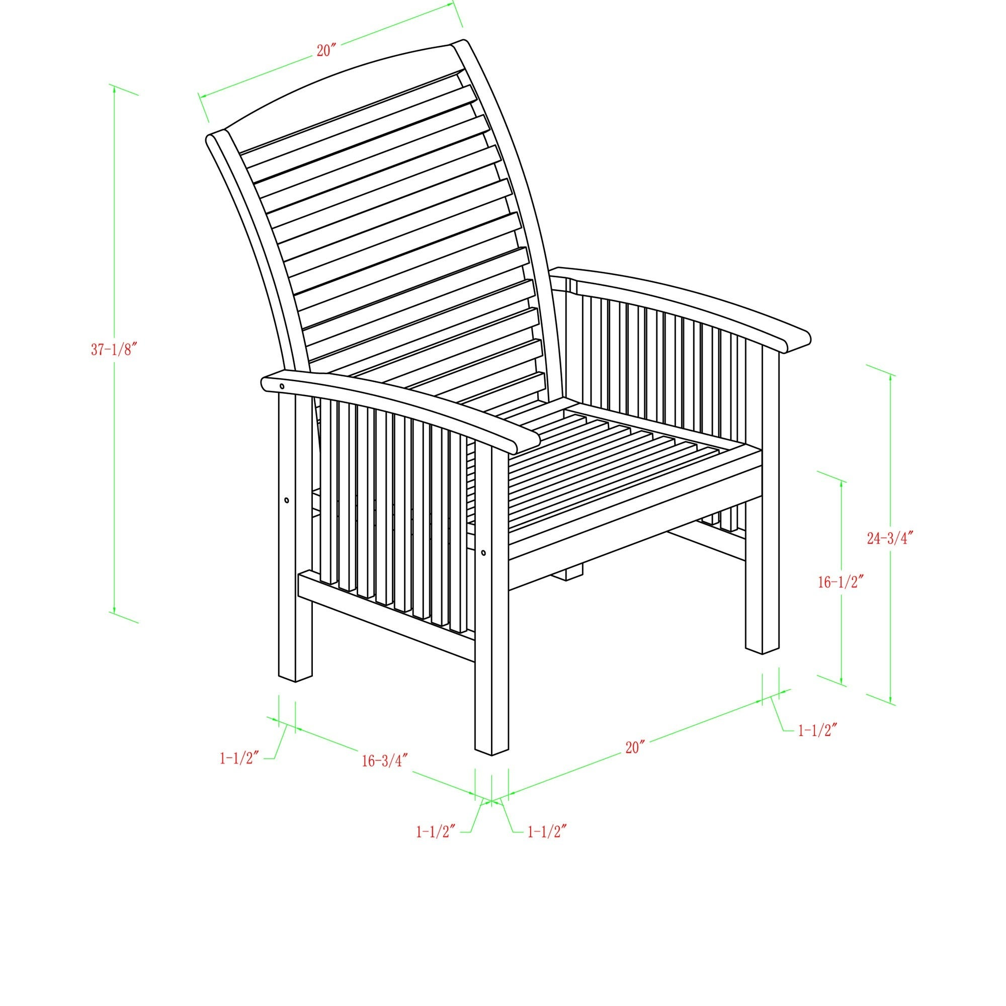 Acacia Wood Patio Chairs Set of 2 Free Shipping Today
