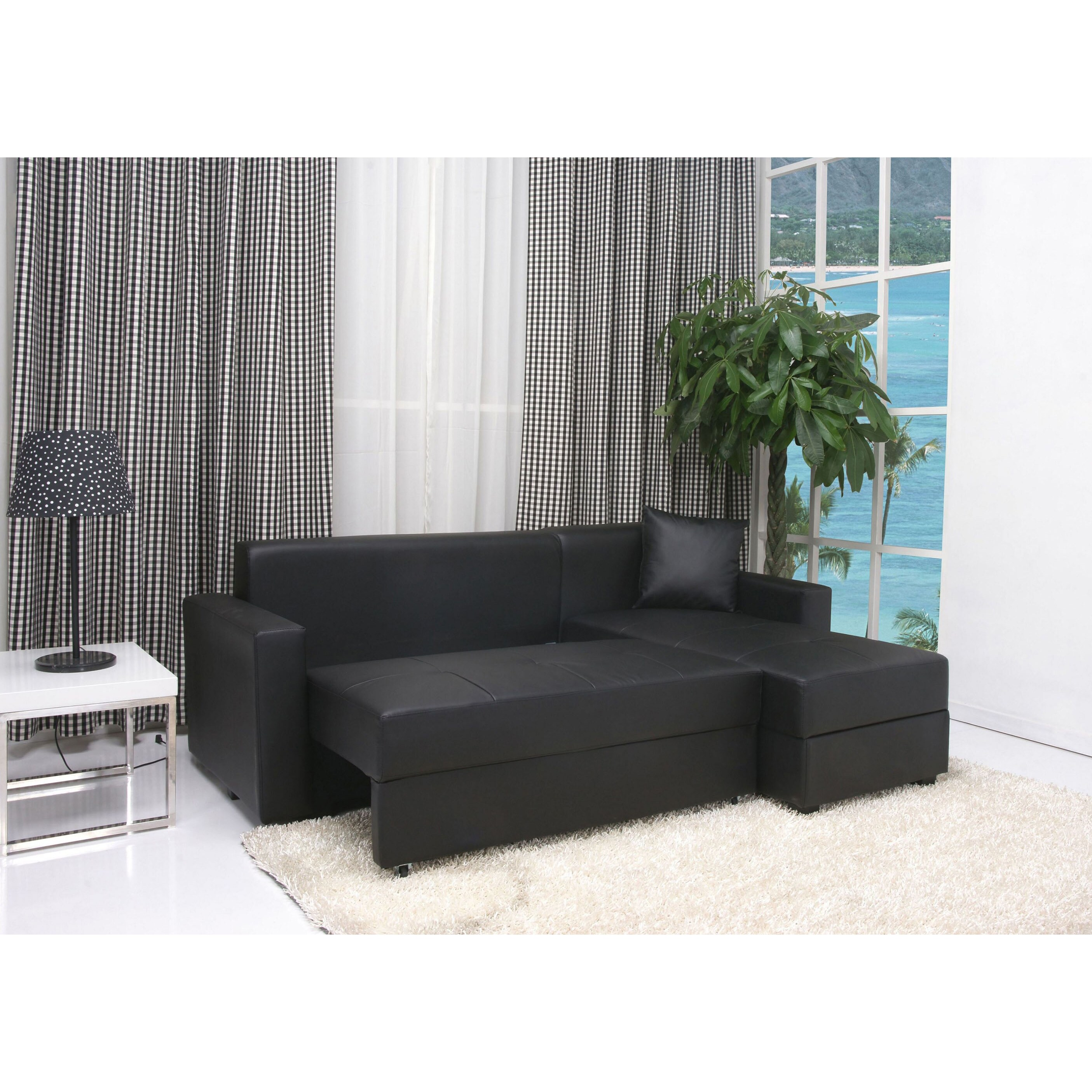 San Jose Black Convertible Sectional Storage Sofa Bed Free Shipping Today 5560862