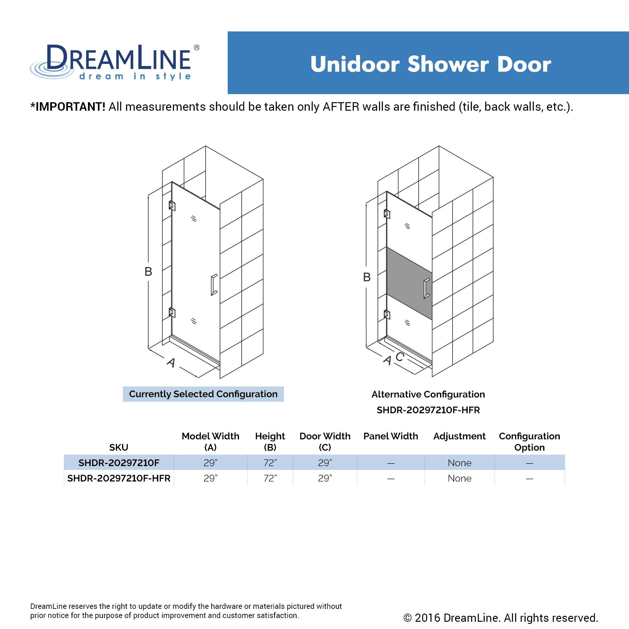 Shop Dreamline Unidoor 29 In Frameless Hinged Shower Door Free