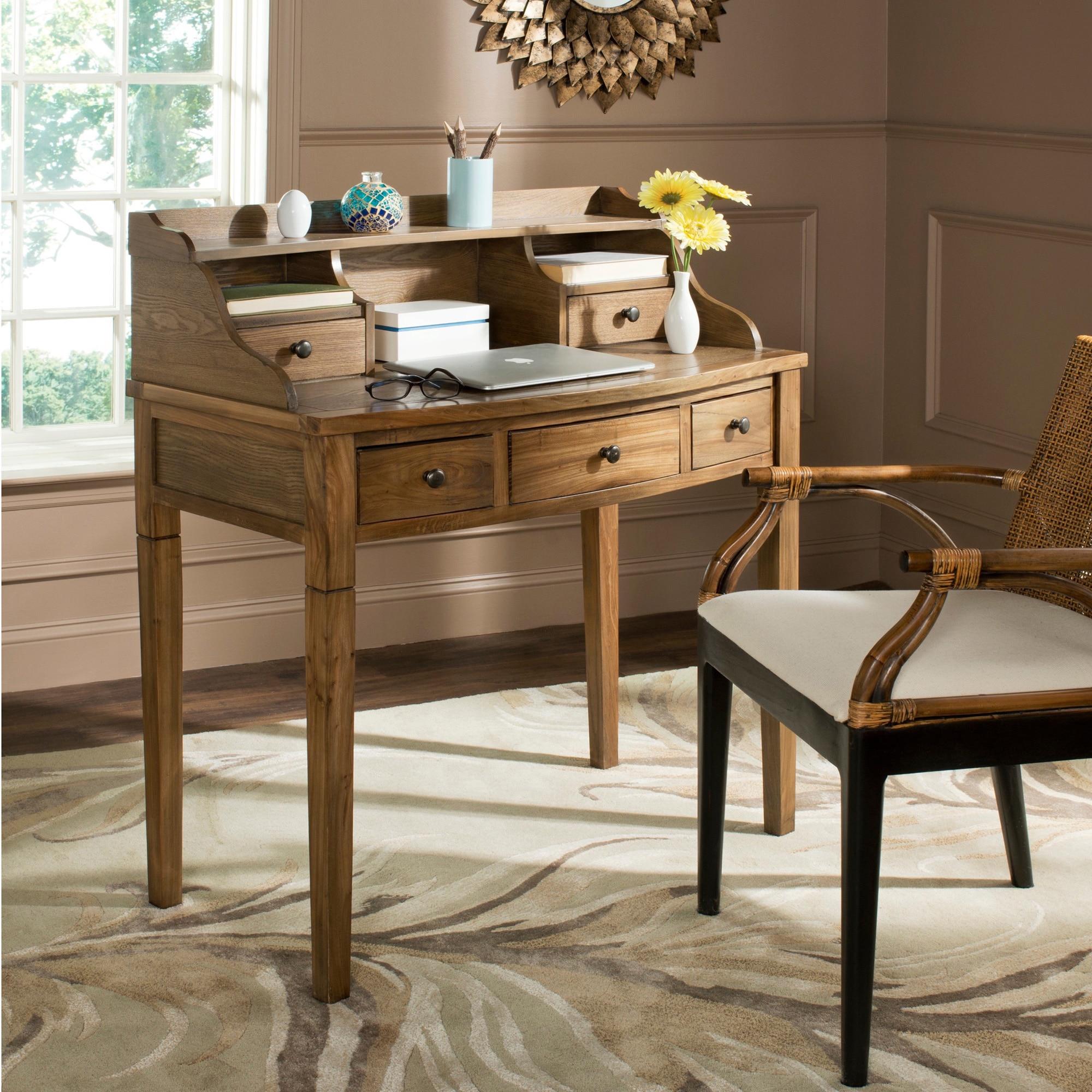 shop safavieh tiverton oak writing desk free shipping today rh overstock com oak writing desks sale oak writing desk nz