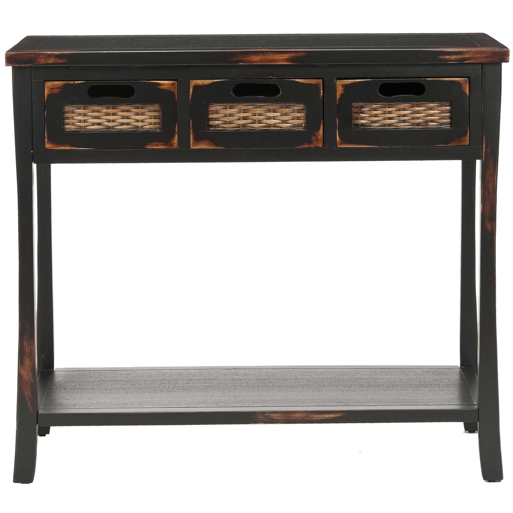 Shop Safavieh Corby Distressed 3 Drawer Black Console Table   On Sale    Free Shipping Today   Overstock.com   5571419