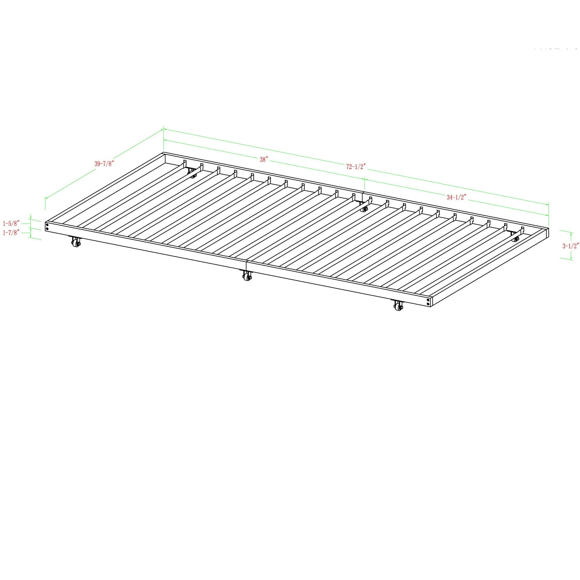 Black Steel Roll-out Twin Trundle Frame - Free Shipping Today ...