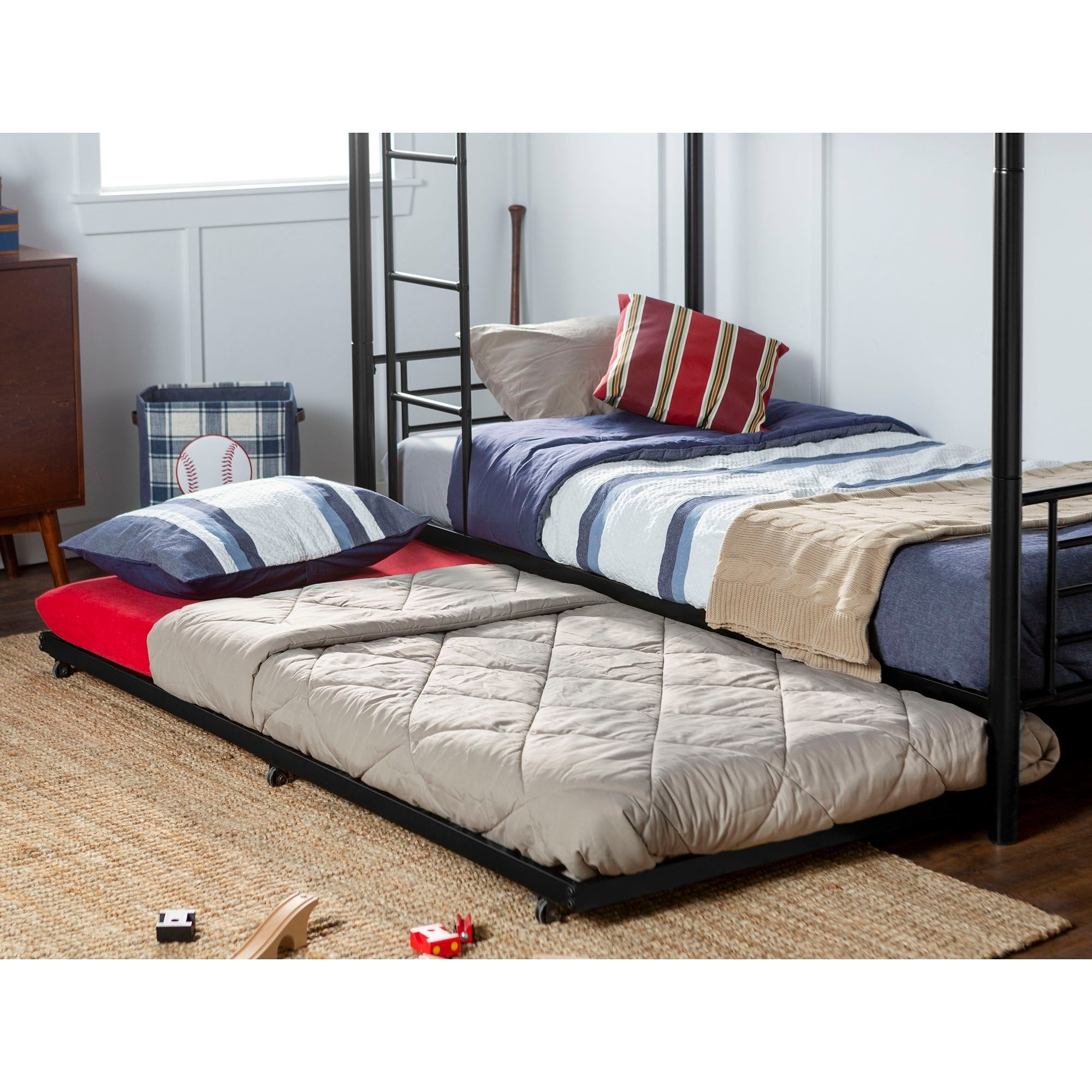 Shop Taylor Olive Abner Metal Roll Out Twin Trundle Bed Frame