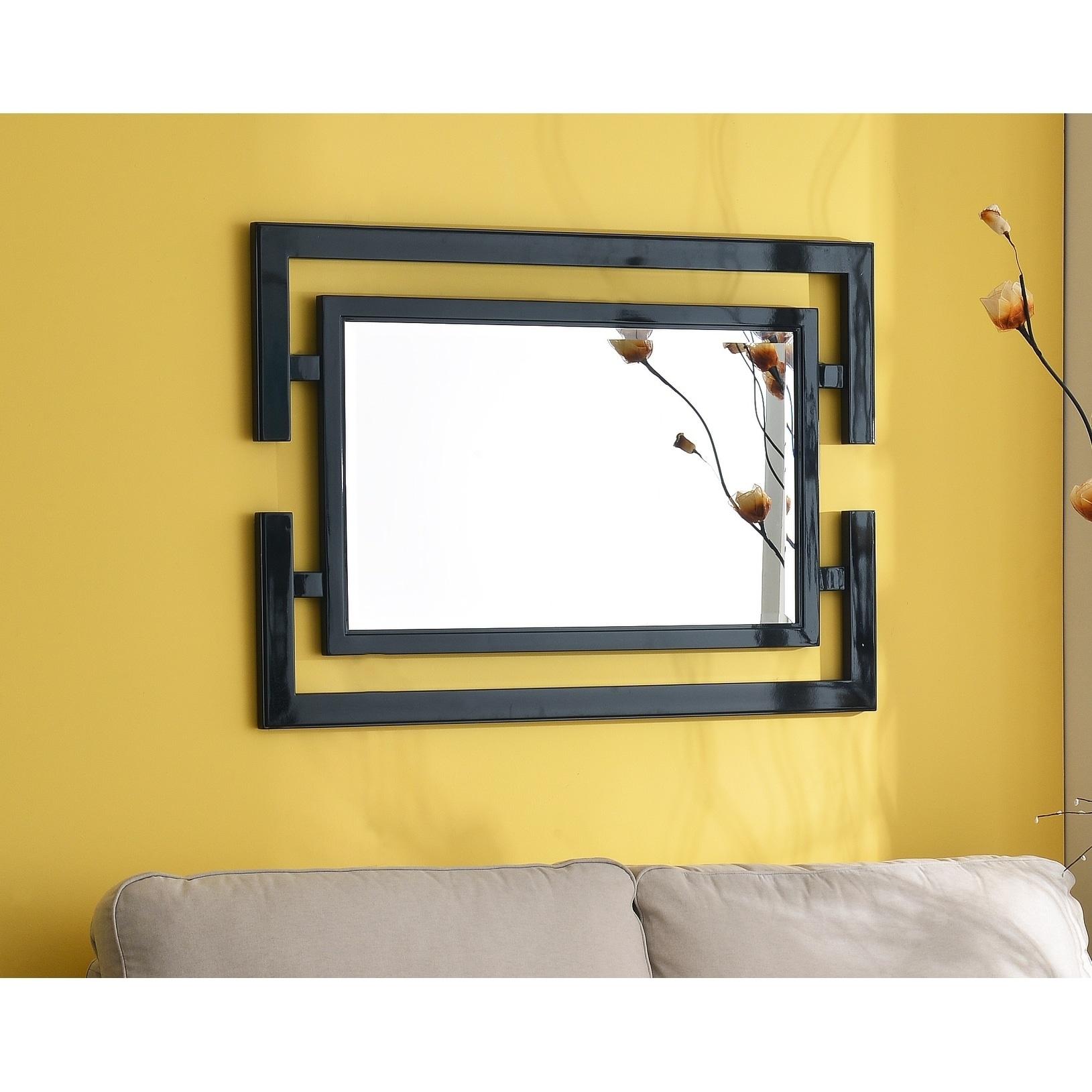 Shop Quadrate 41x29 Glossy Black Beveled Wall Mirror - Free Shipping ...