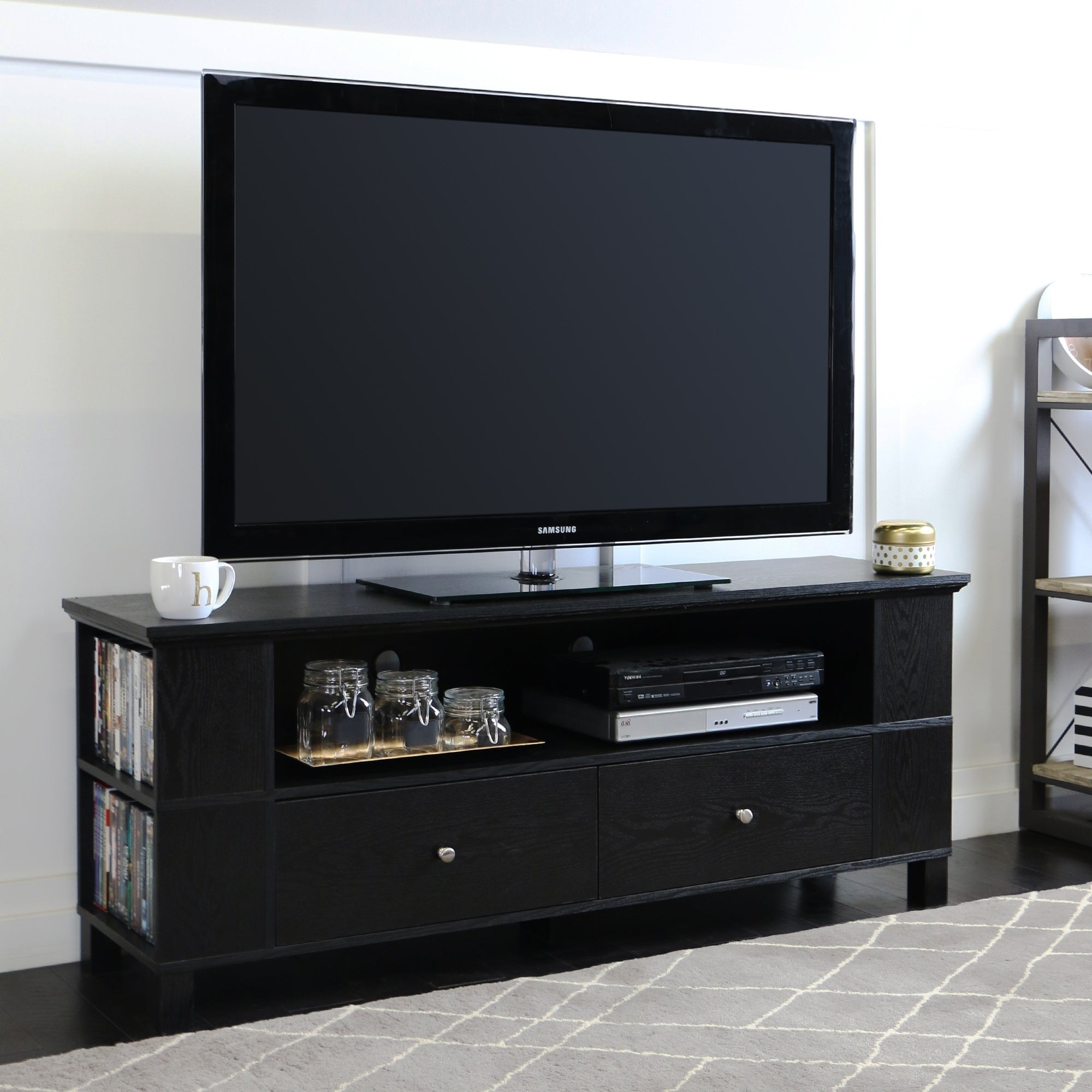 Black Wood 60inch TV Stand Free Shipping Today Overstock 13350351