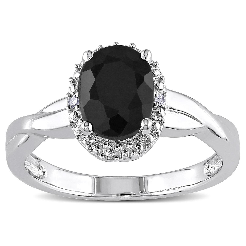 Shop Miadora Sterling Silver Black Sapphire and Diamond Accent Ring ...