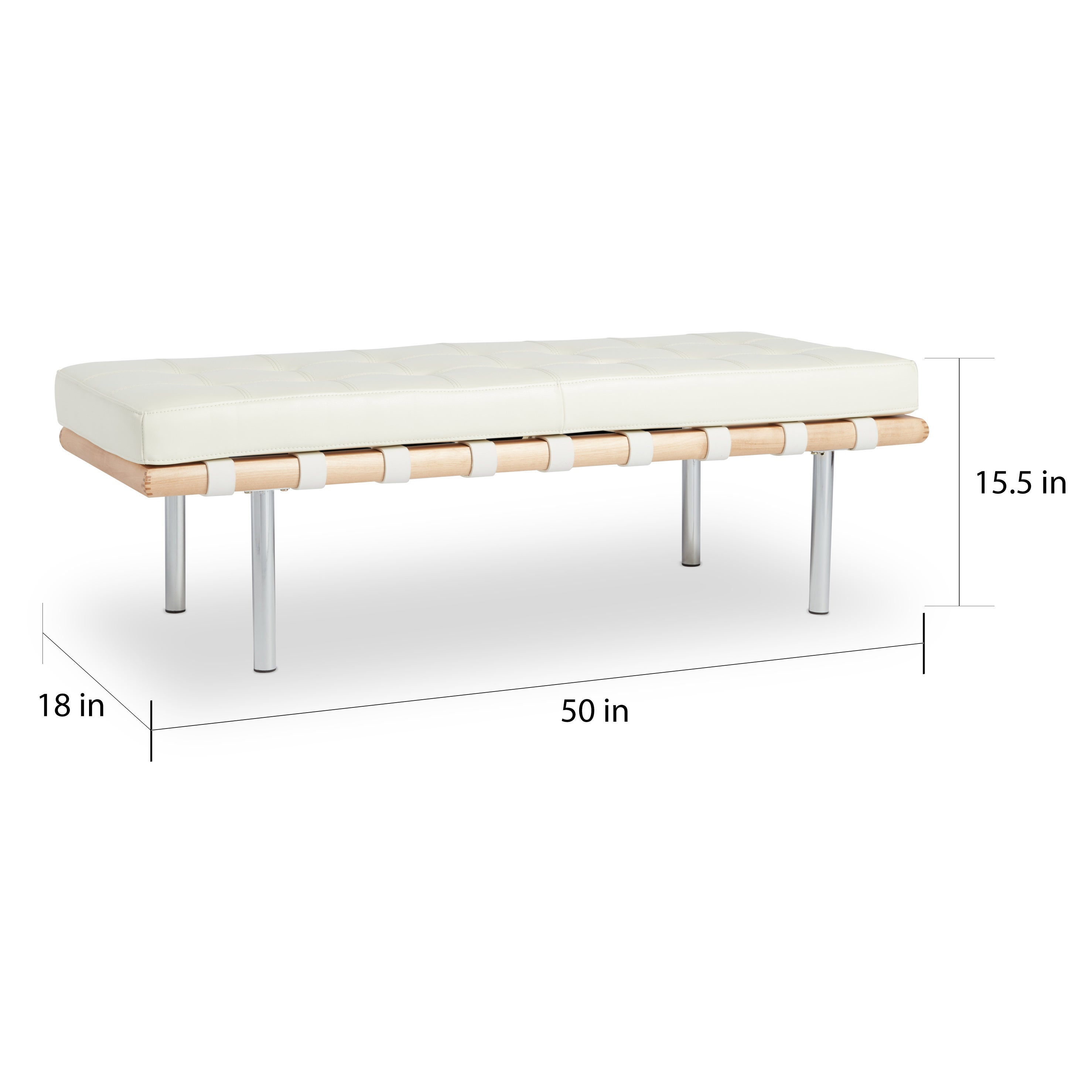 Shop strick bolton andalucia modern white leather bench 50 inches long free shipping today overstock com 5594689