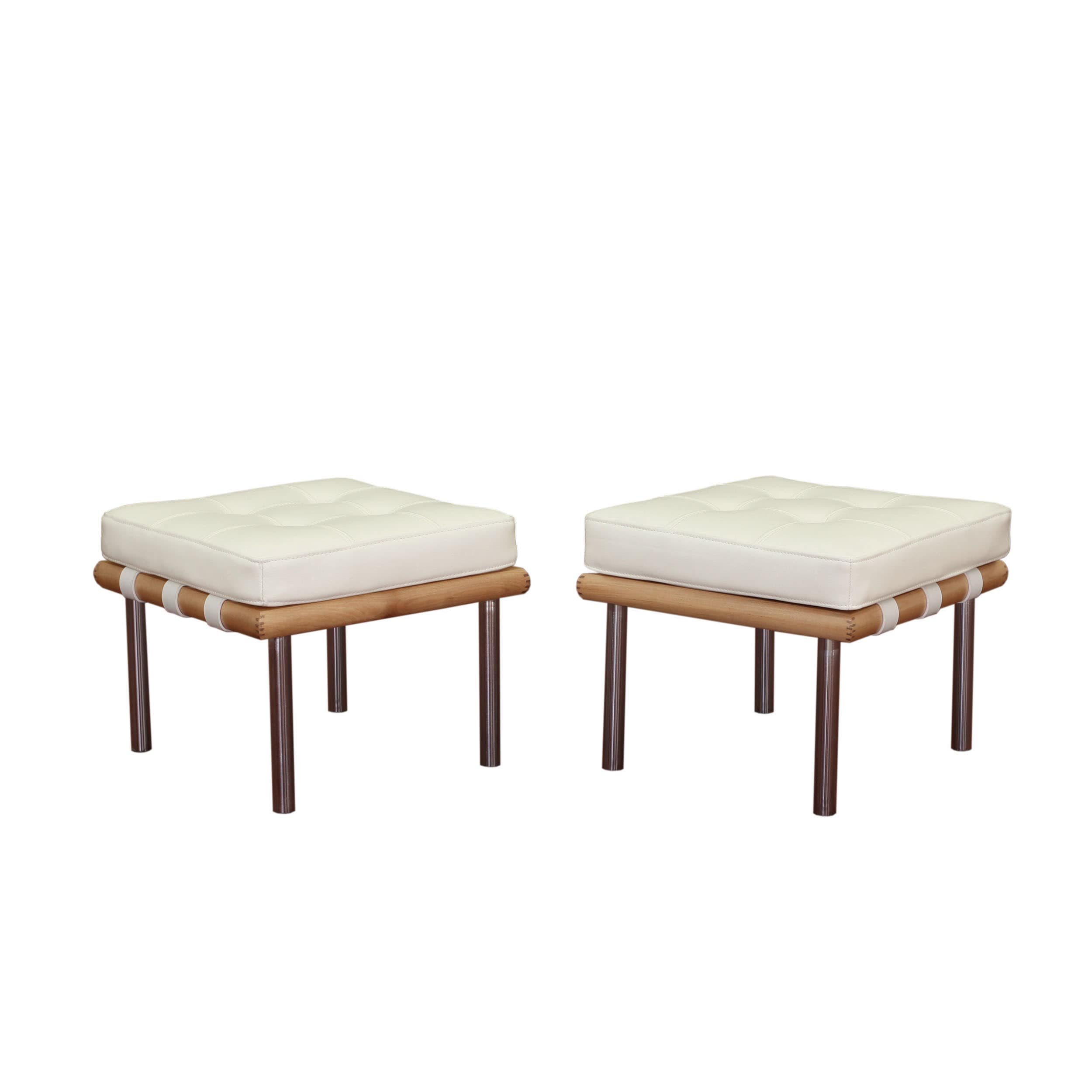 Andalucia Modern Cream Leather Ottoman Set of 2 Free Shipping