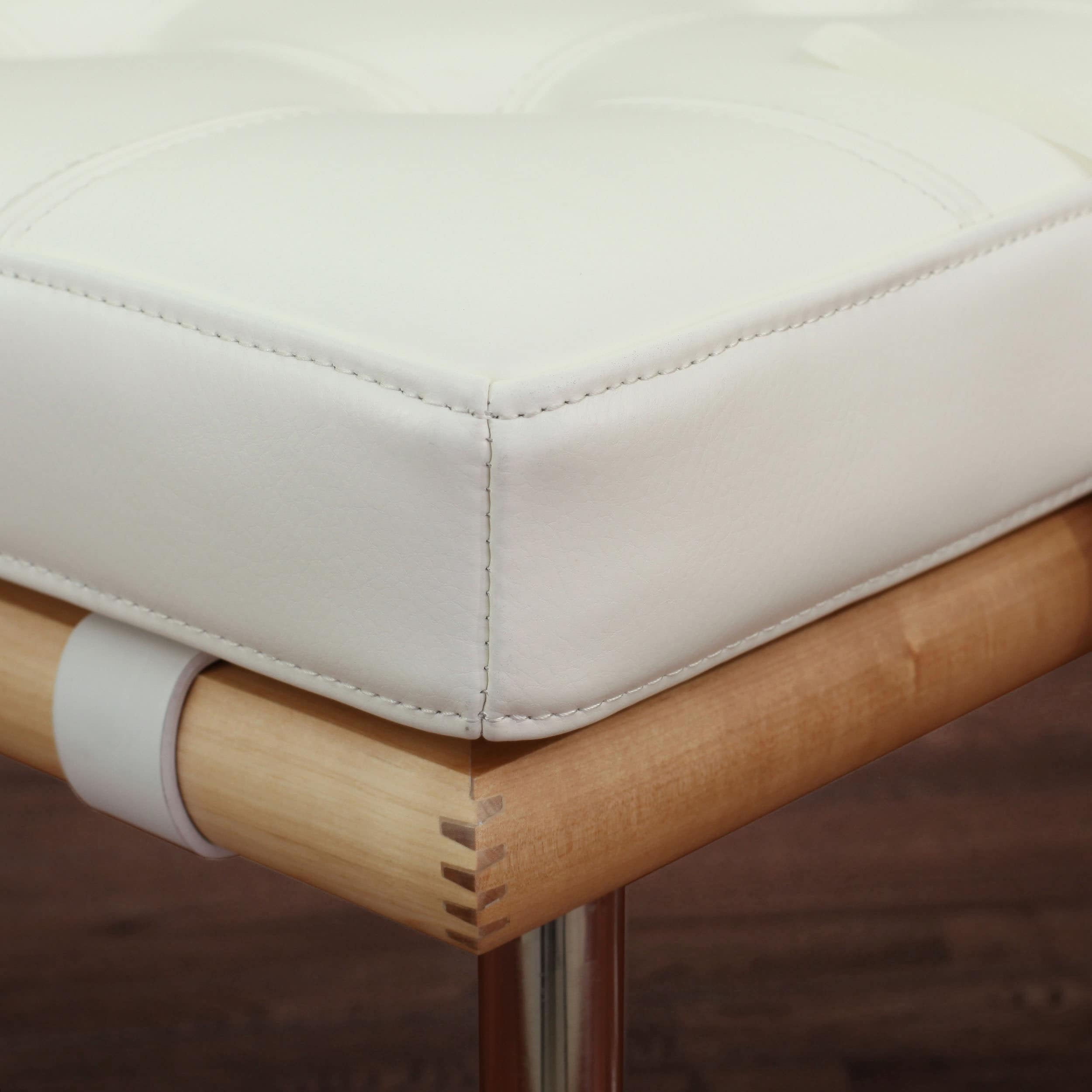 Andalucia Modern Cream Leather Ottoman Set Of 2 Free Shipping Today 5594690