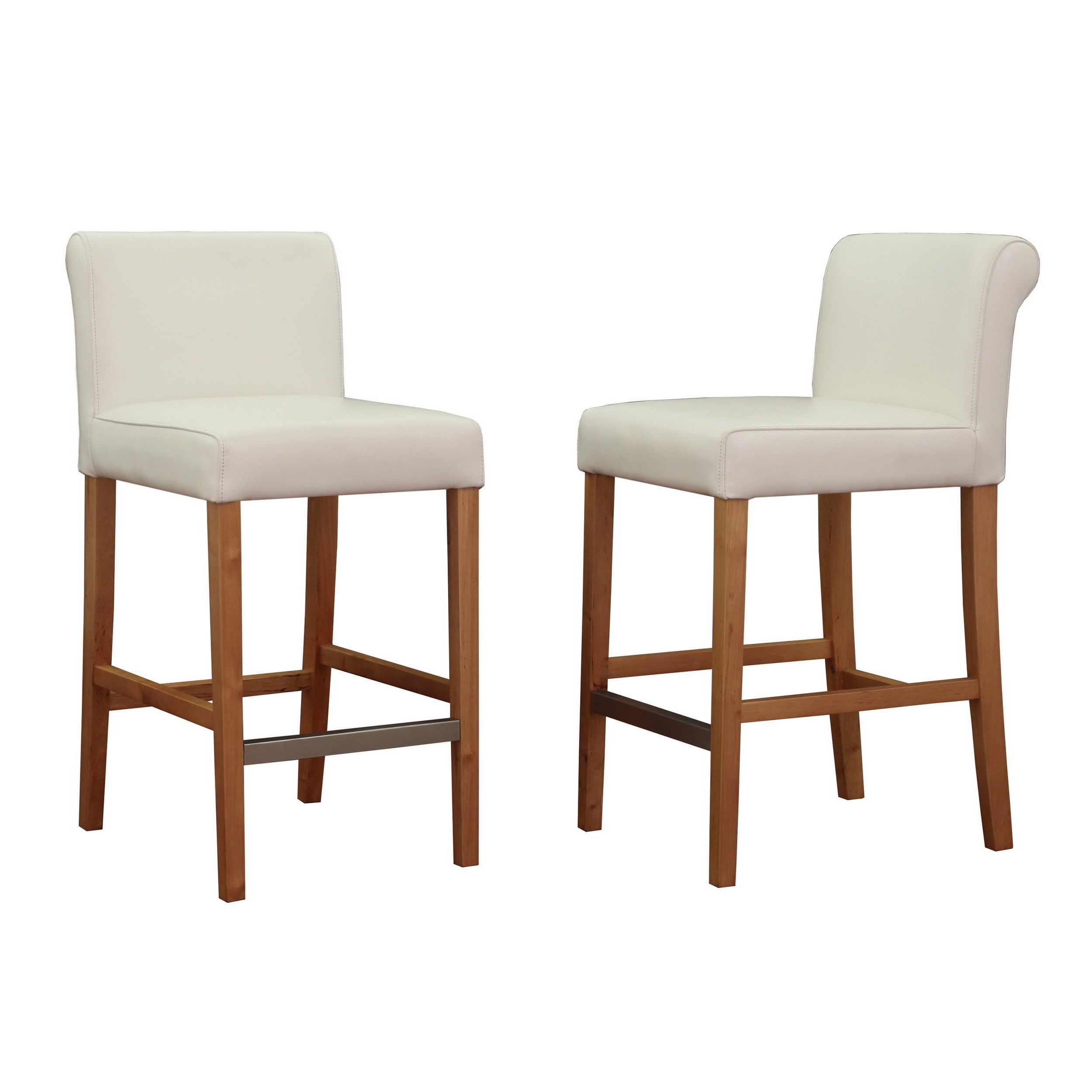 Shop jasper laine cosmopolitan modern white bicast leather counter stools set of 2 free shipping today overstock com 5594692