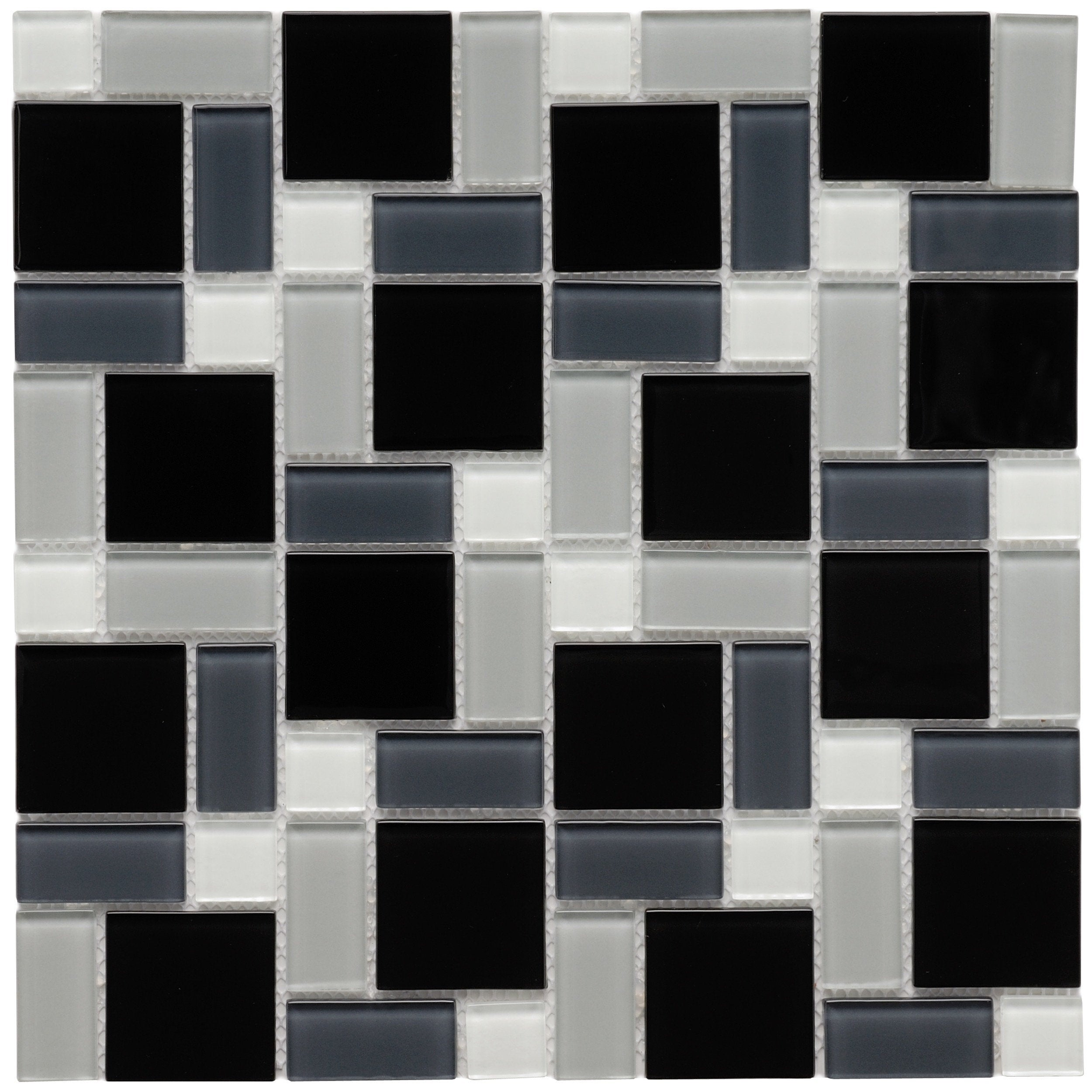 SomerTile 11 75x11 75 inch View Block Black and White Glass Mosaic