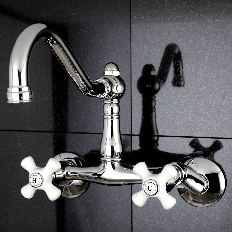 Shop Adjustable Chrome Wallmount Kitchen Faucet - On Sale - Free ...