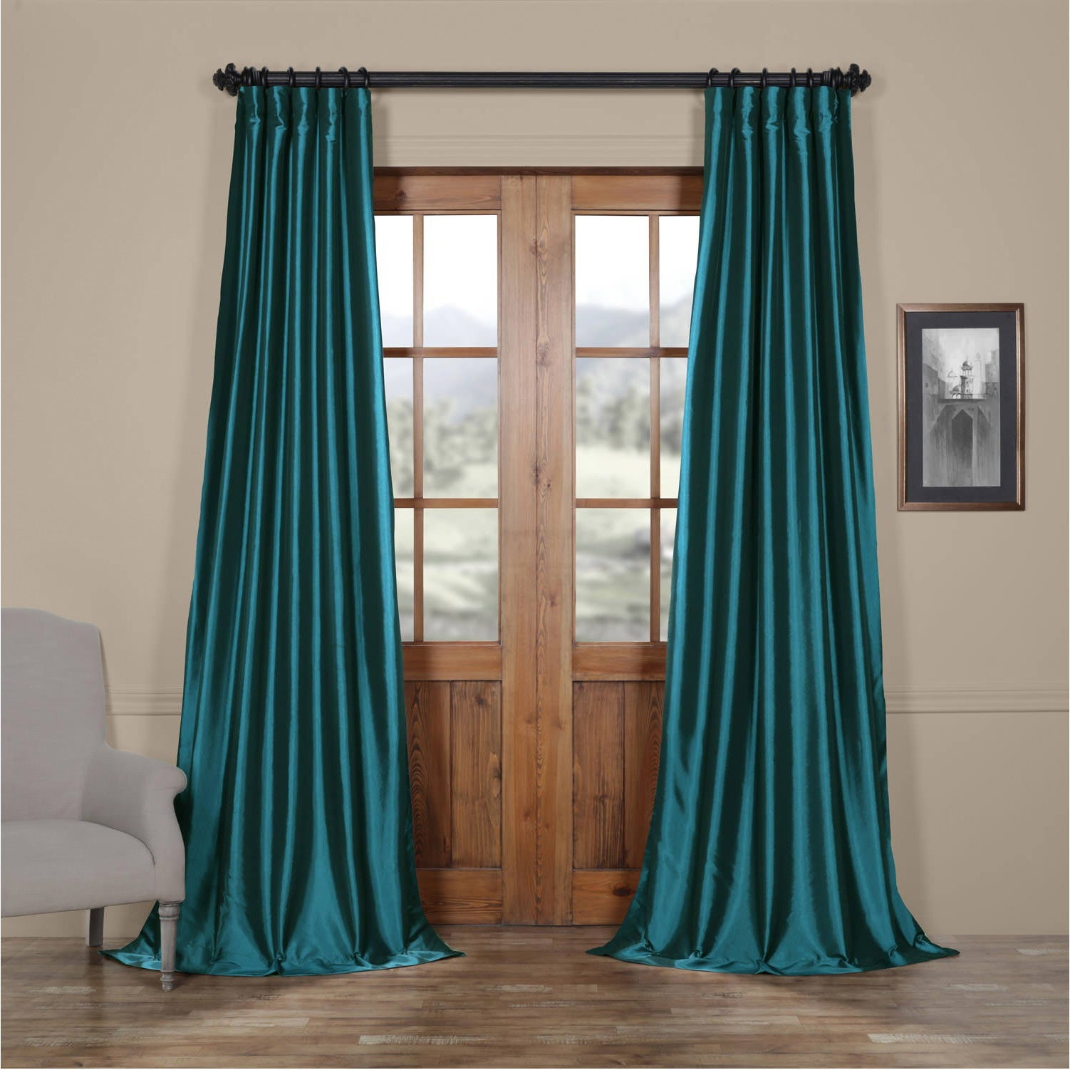 Exclusive Fabrics Solid Faux Silk Taffeta Mediterranean Curtain
