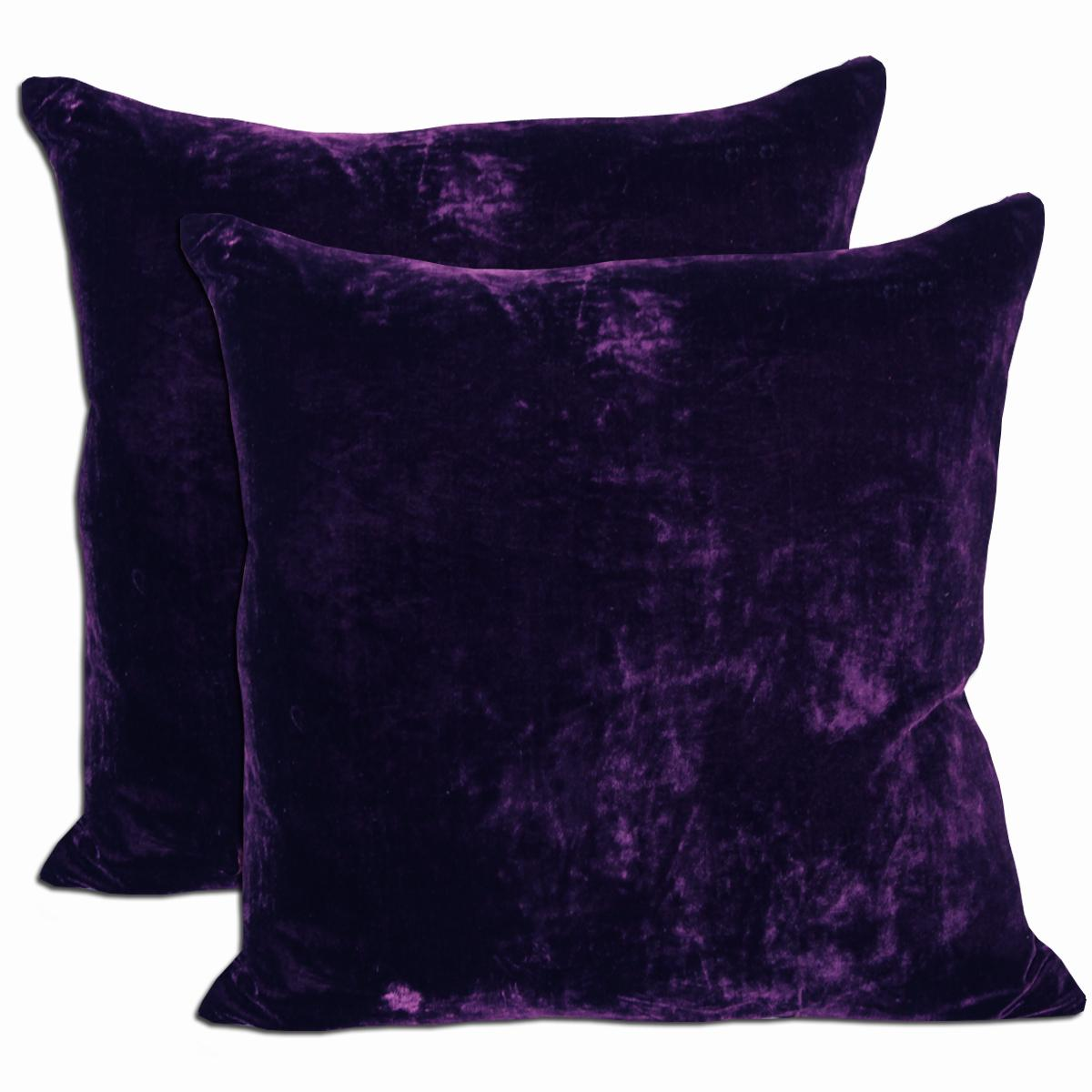 Purple Velvet Feather And Down Filled Throw Pillows Set Of 2 On Sale Overstock 5643394