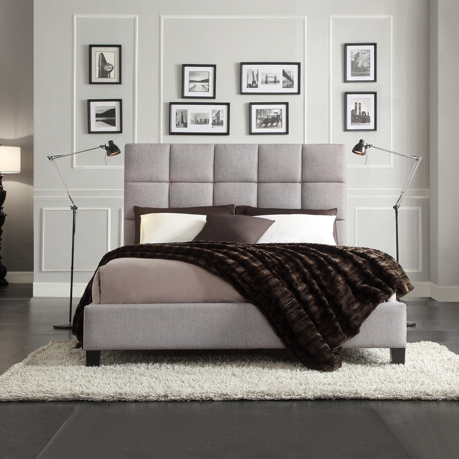 Fenton Column Upholstered Platform Bed By INSPIRE Q Modern   Free Shipping  Today   Overstock   13407030