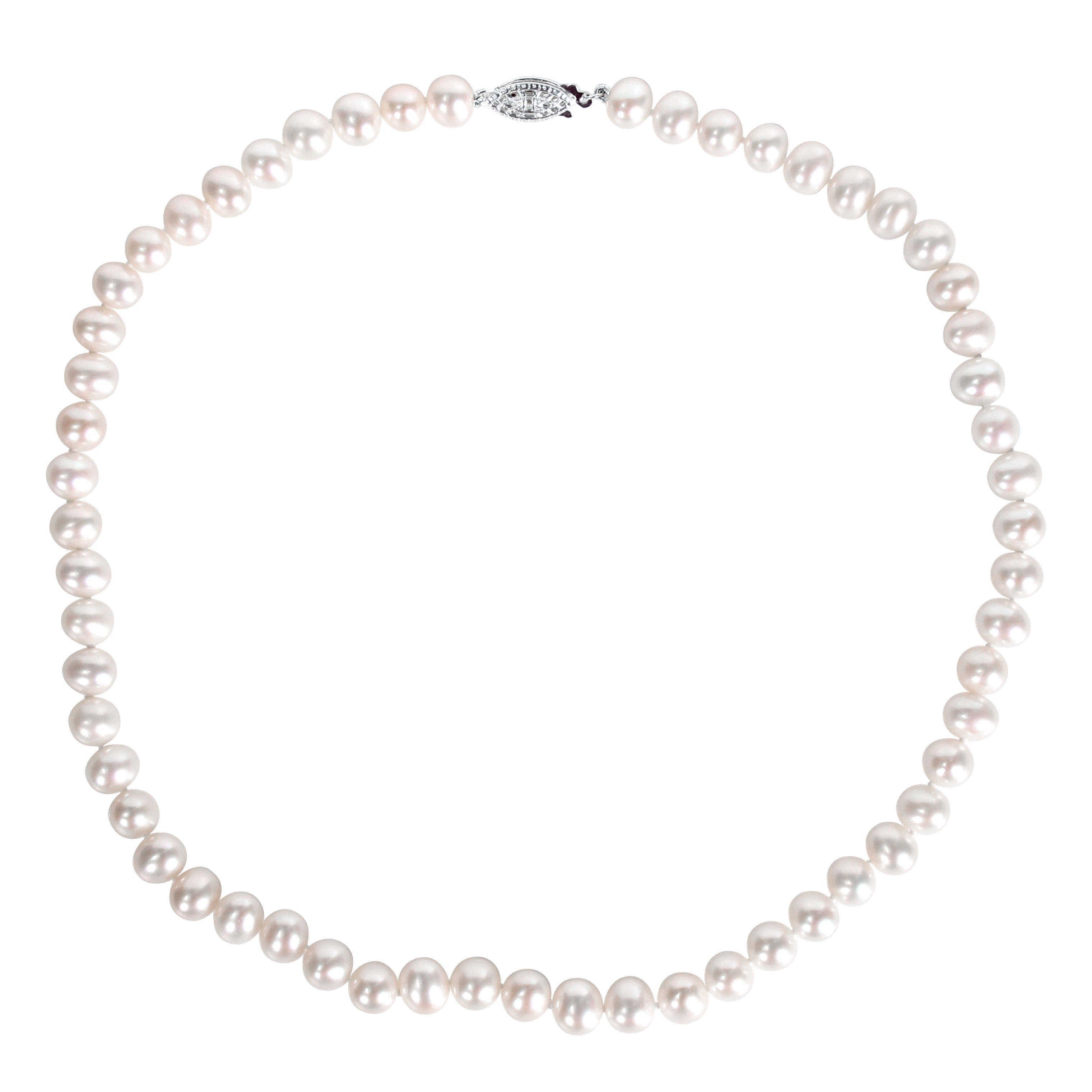 6d9db451f09d1e Shop Miadora White Cultured Freshwater Pearl Necklace (16-18 inch) - On  Sale - Free Shipping On Orders Over $45 - Overstock - 5659194