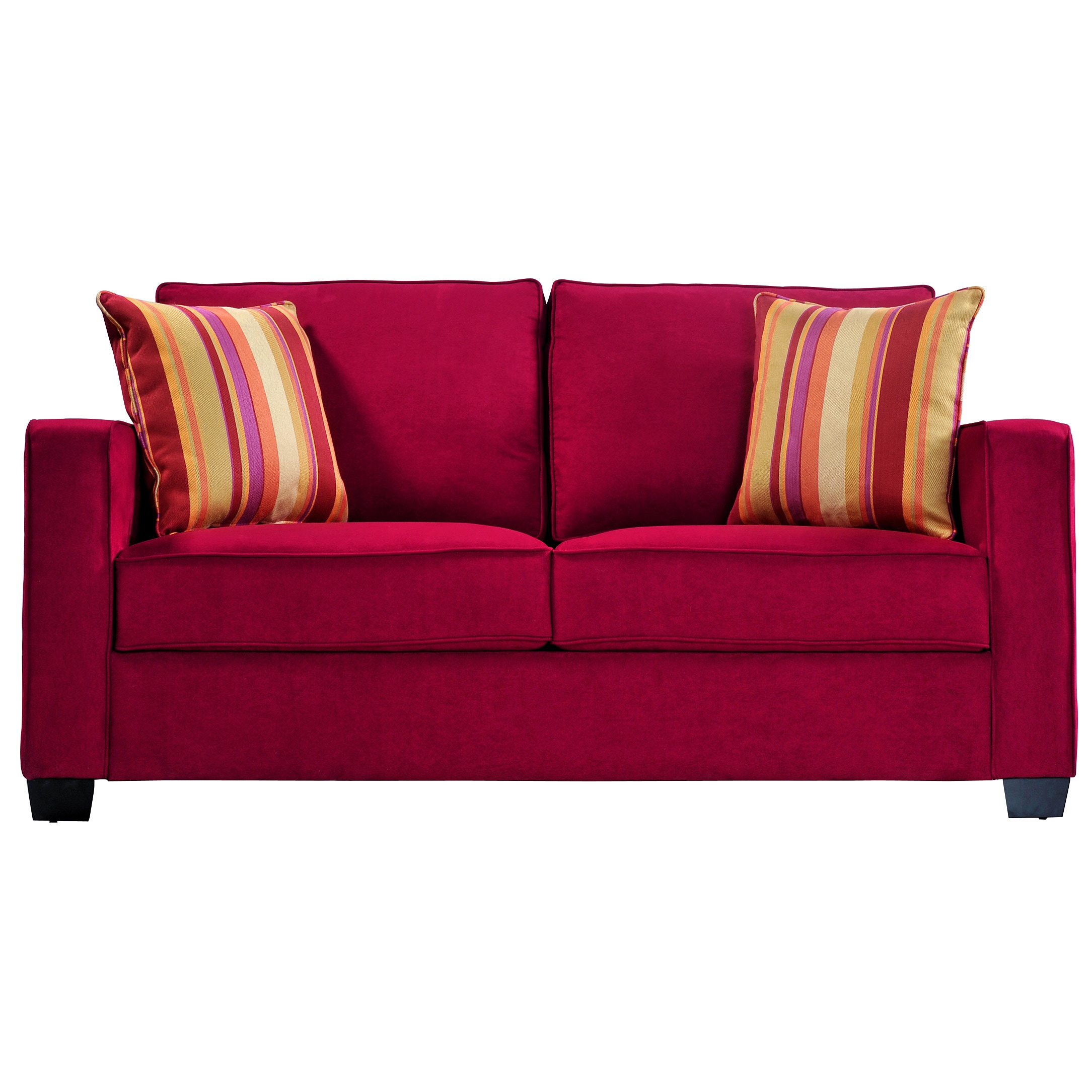 Shop Handy Living Madi Crimson Red Microfiber Sofa with Wine Striped ...
