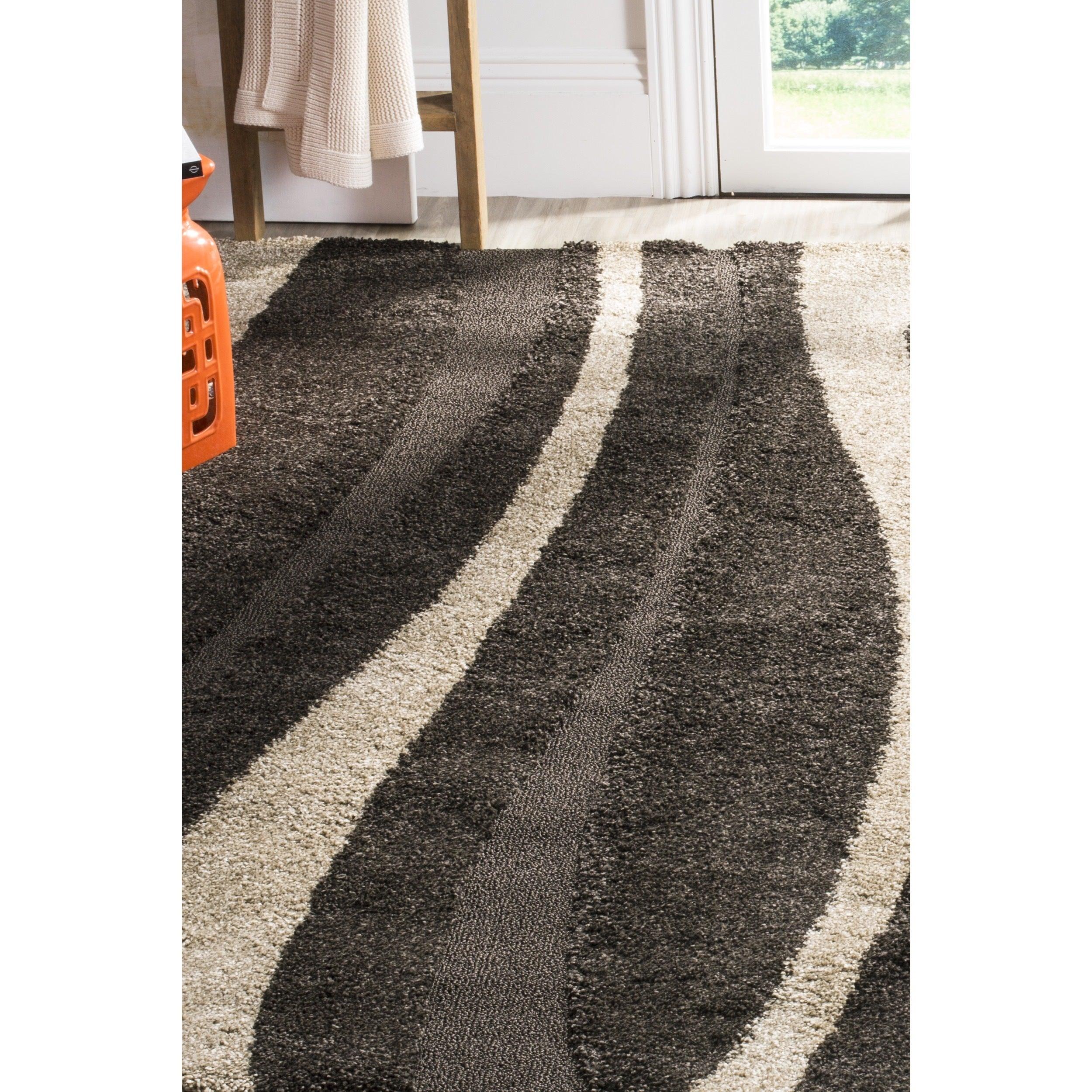 dp rug handmade dining polyester kitchen area malibu com shag amazon x safavieh brown charcoal collection