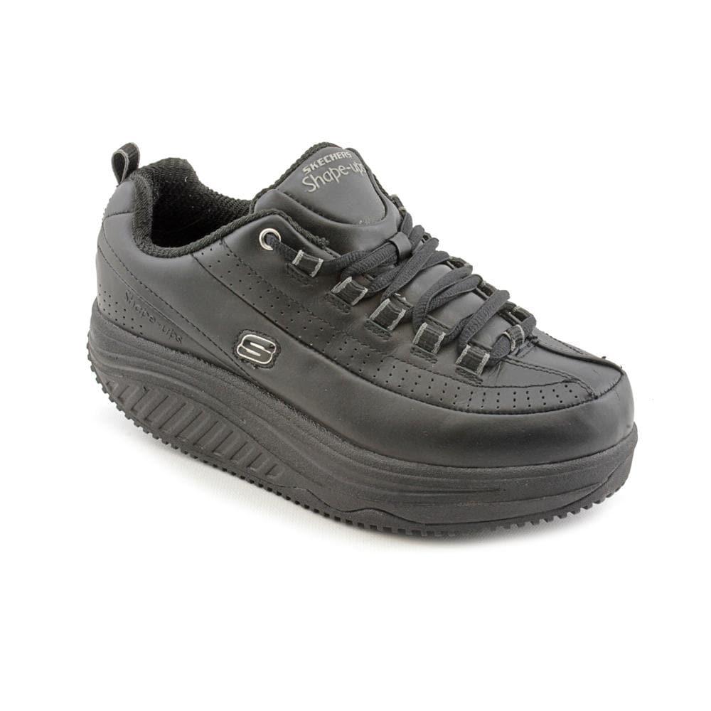 0dba818d0df2 Shop Skechers Women s  Shape Ups  Wide Black Leather Sneakers - Free ...