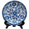 Handmade Porcelain 14-inch Blue and White Floral Plate (China)
