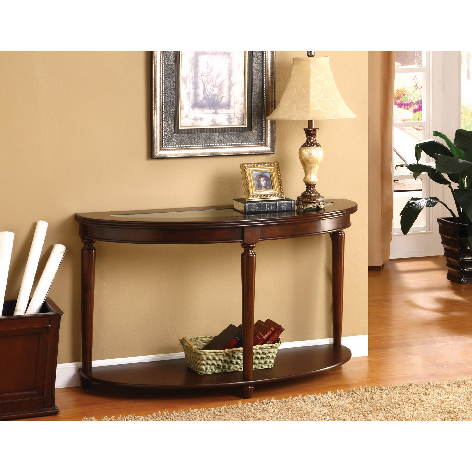 Furniture Of America Crescent Glass Top Console Sofa Entry Way  ~ Sofa Table With Glass Top