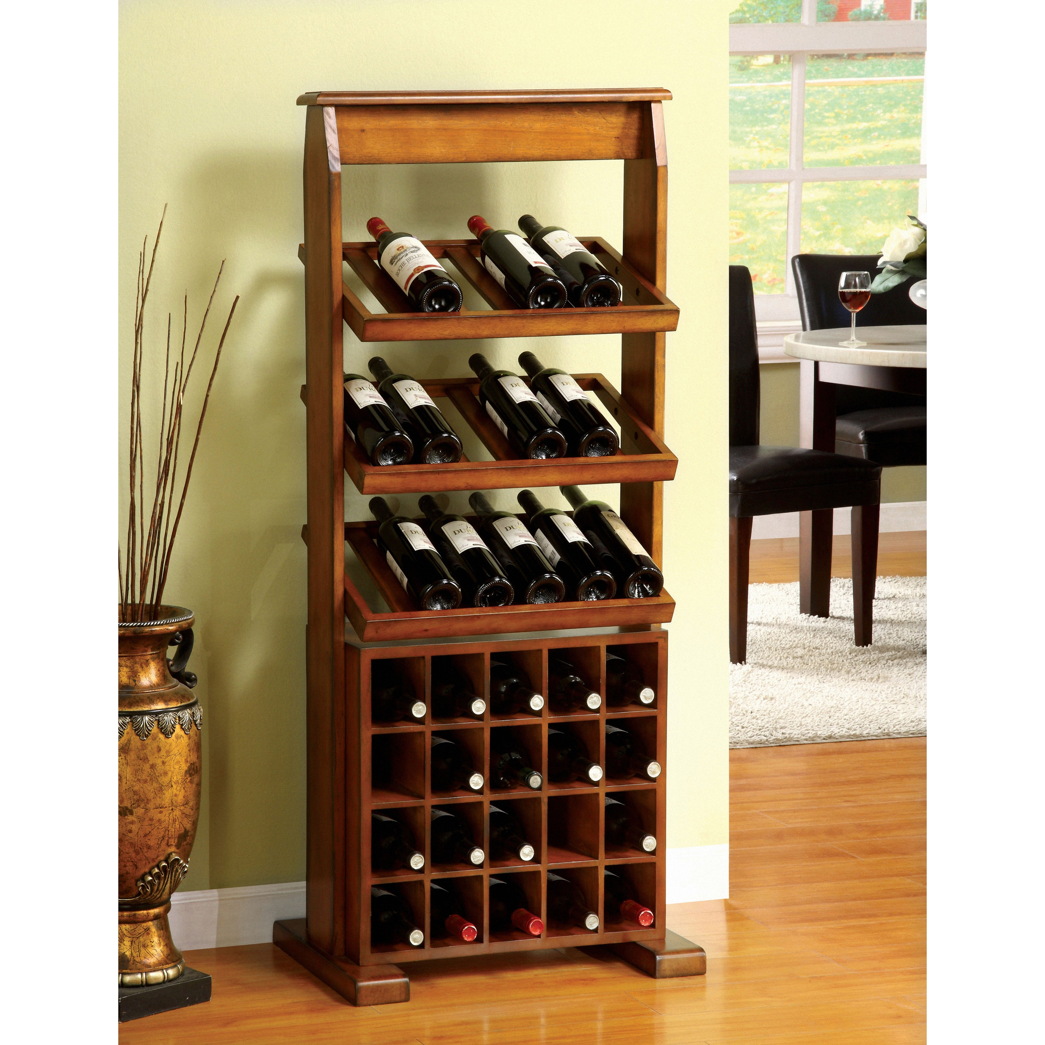Furniture of America Sebastian Antique Oak 38-bottle Wine Rack - Free  Shipping Today - Overstock.com - 13421449