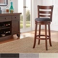 Verona Linen Ladder-back Swivel 29-inch High Back Bar Stool by iNSPIRE Q Classic
