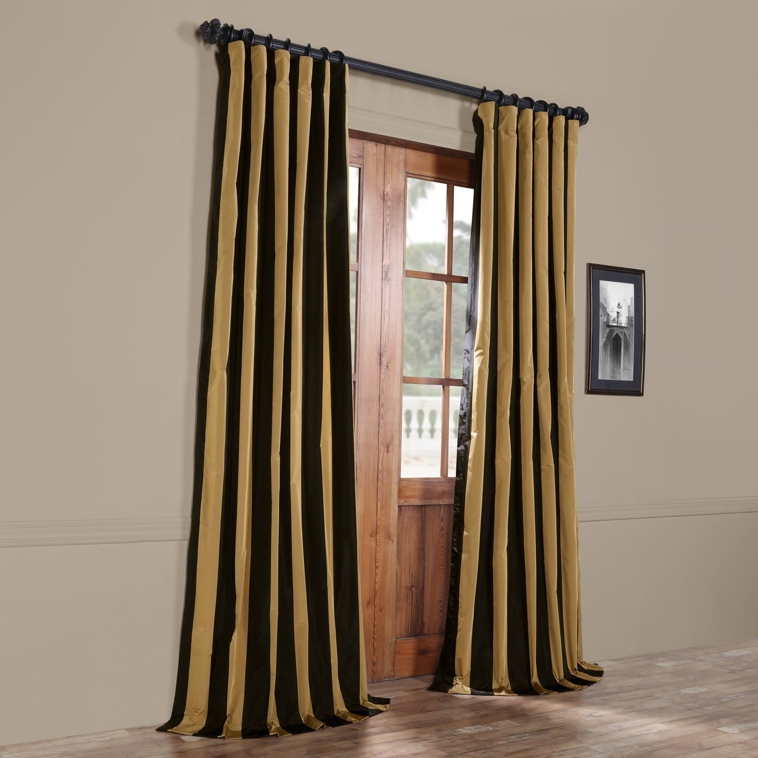 Unique Exclusive Fabrics Black/ Gold Stripe Faux Silk Taffeta Curtain  YT05