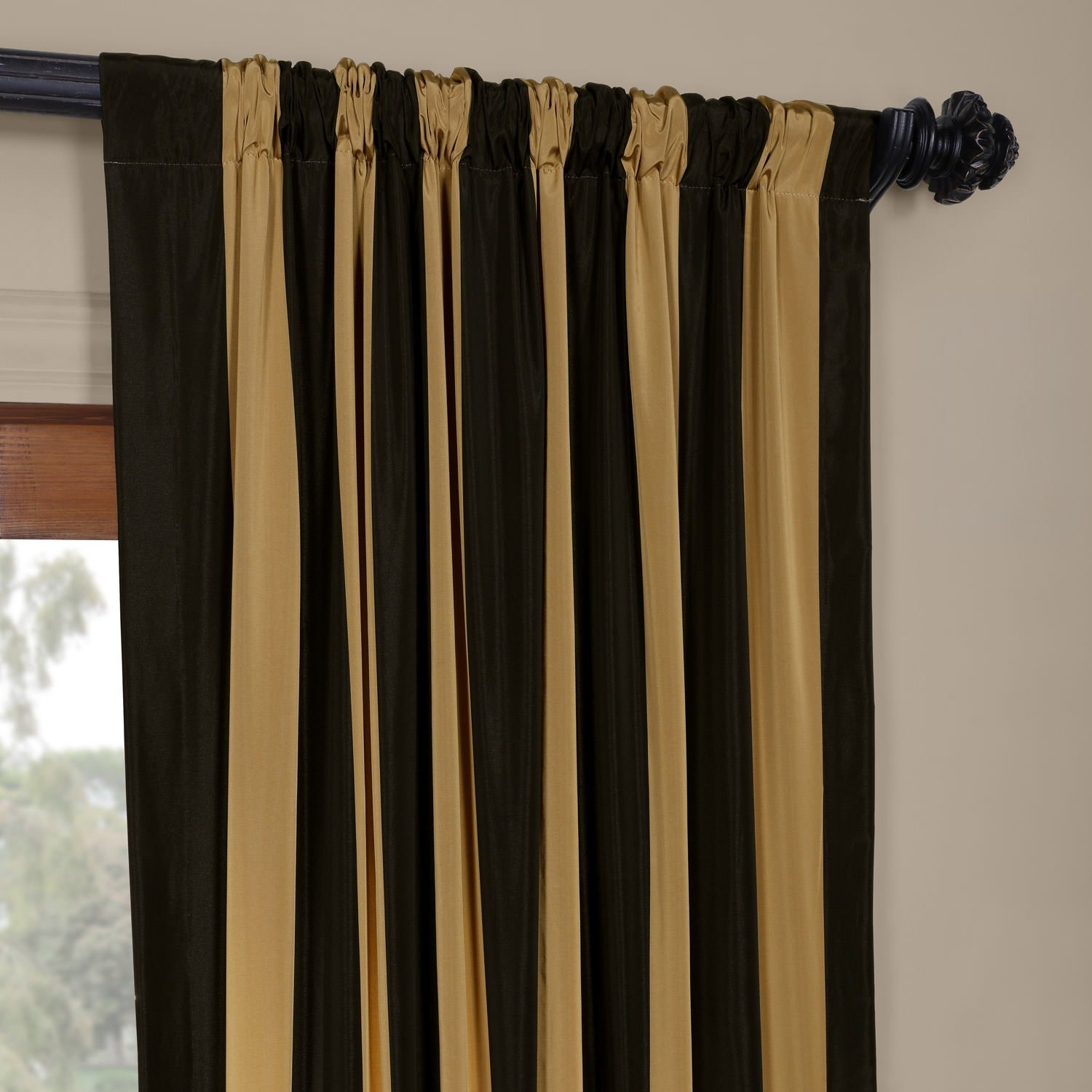 simple black wall room linen wood and curtains gold beautify single panel decoration using two metal divine with image curtain awesome beige living ideas light your livi of brown panels for including rods