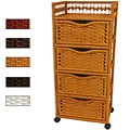 Natural Fiber Wheeled 4-drawer Chest of Drawers (China)