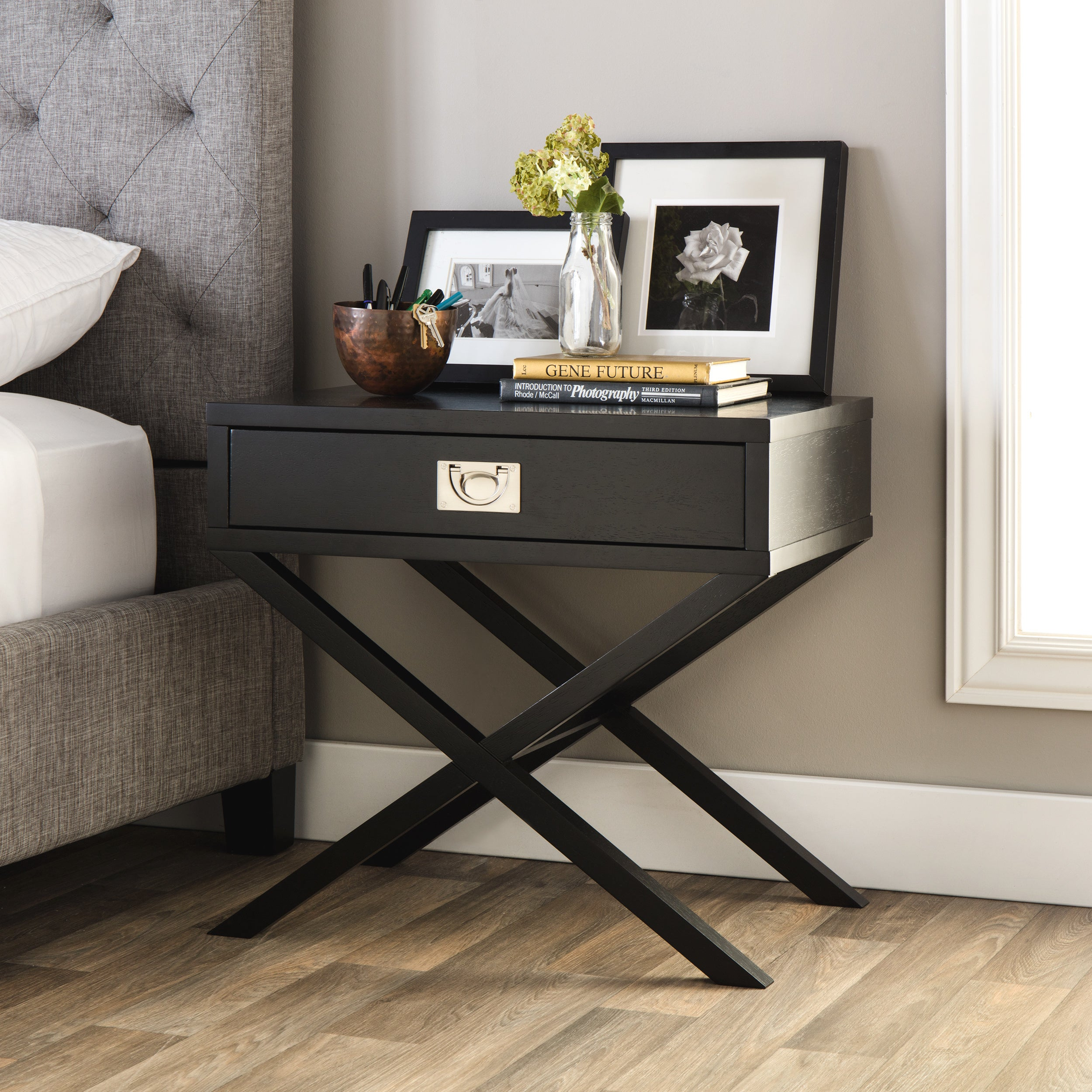 Napa Black 1-drawer Bedside Table - Free Shipping Today ...