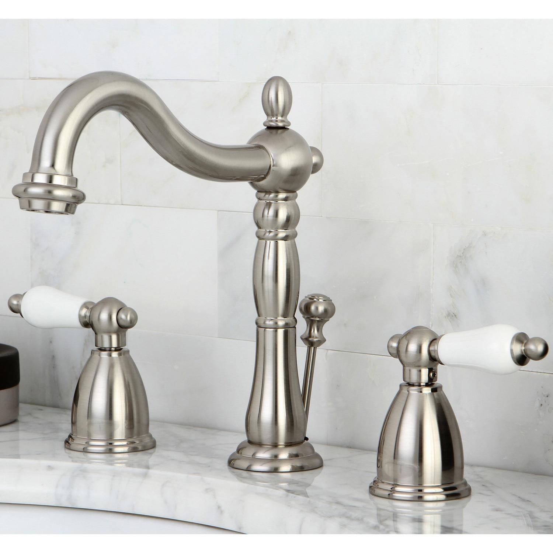Shop Vintage Satin Nickel Widespread Bathroom Faucet - Free Shipping ...