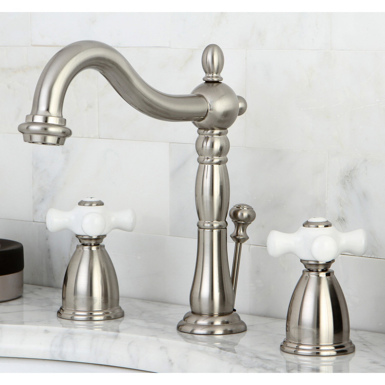 Shop Vintage Satin Nickel Widespread Bathroom Faucet - Free Shipping ...