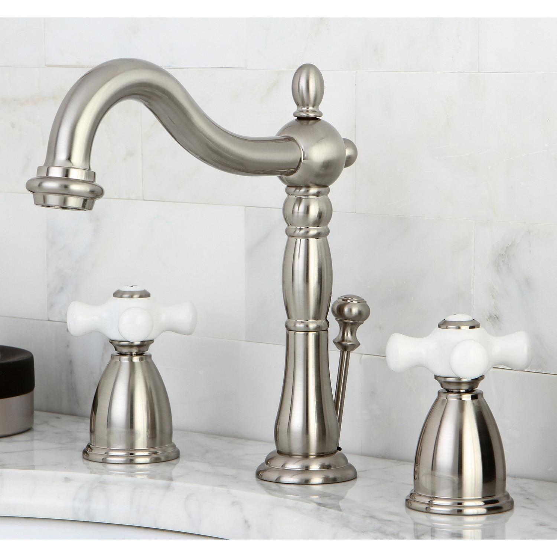 Vintage Satin Nickel Widespread Bathroom Faucet - Free Shipping ...