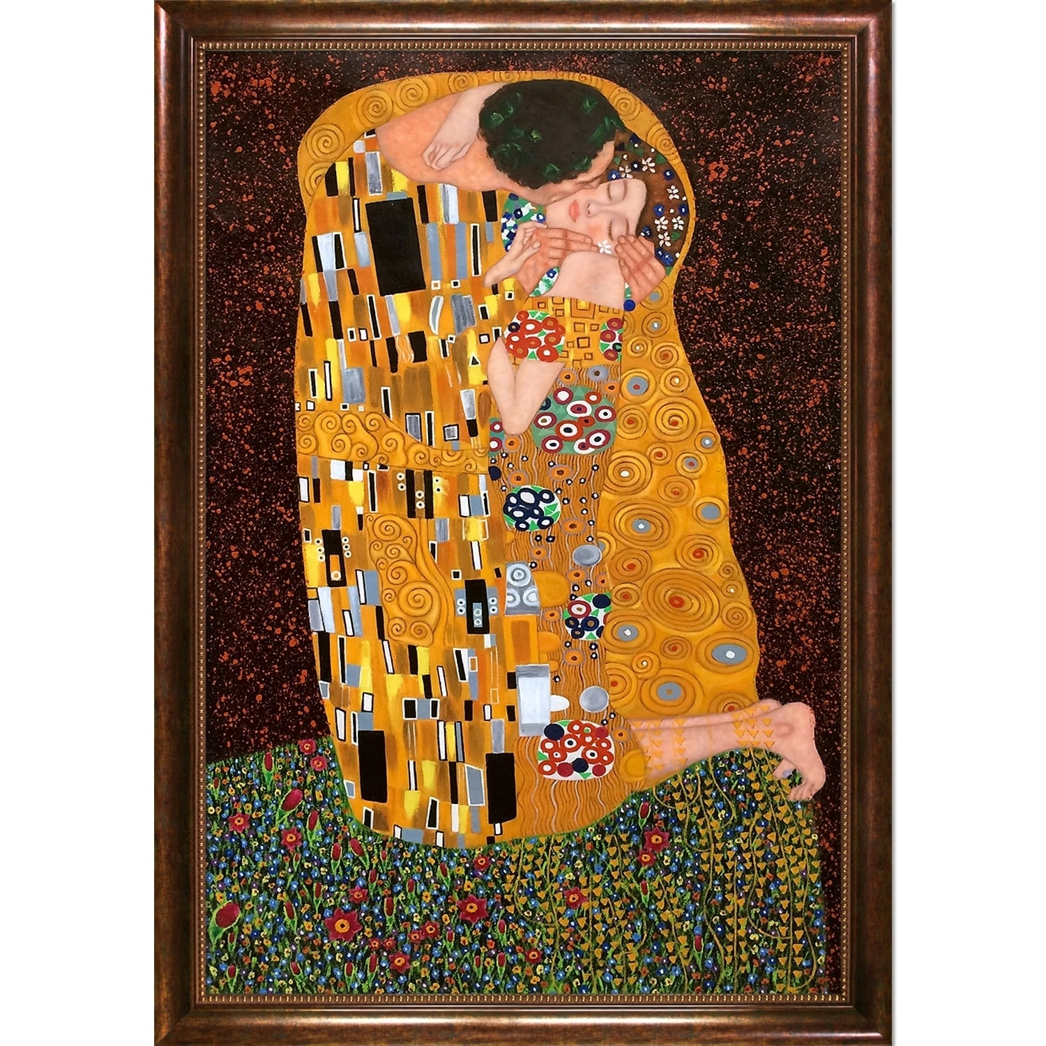 Gustav Klimt \'The Kiss\' Framed Canvas Art - Free Shipping Today ...