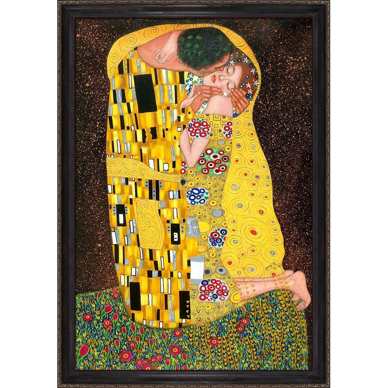 Shop Gustav Klimt \'The Kiss (Fullview)\' Framed Canvas Art - On Sale ...