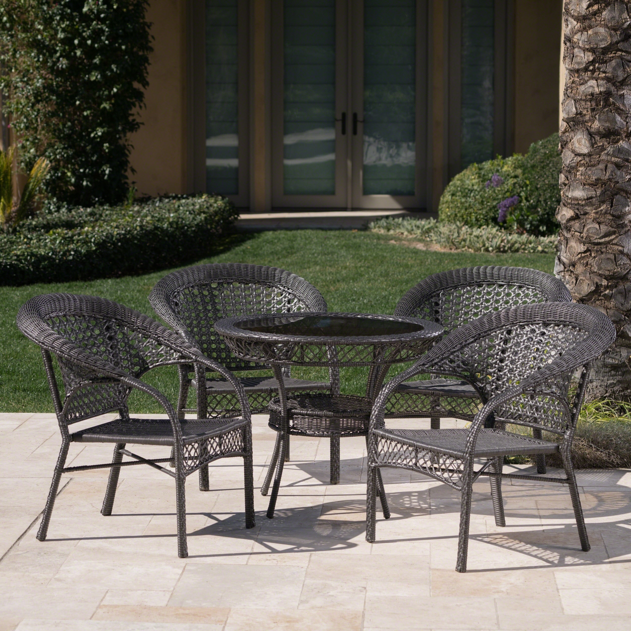 Outdoor 5 Piece Wicker Dining Bistro Table Set By Christopher Knight Home    Free Shipping Today   Overstock   13464465