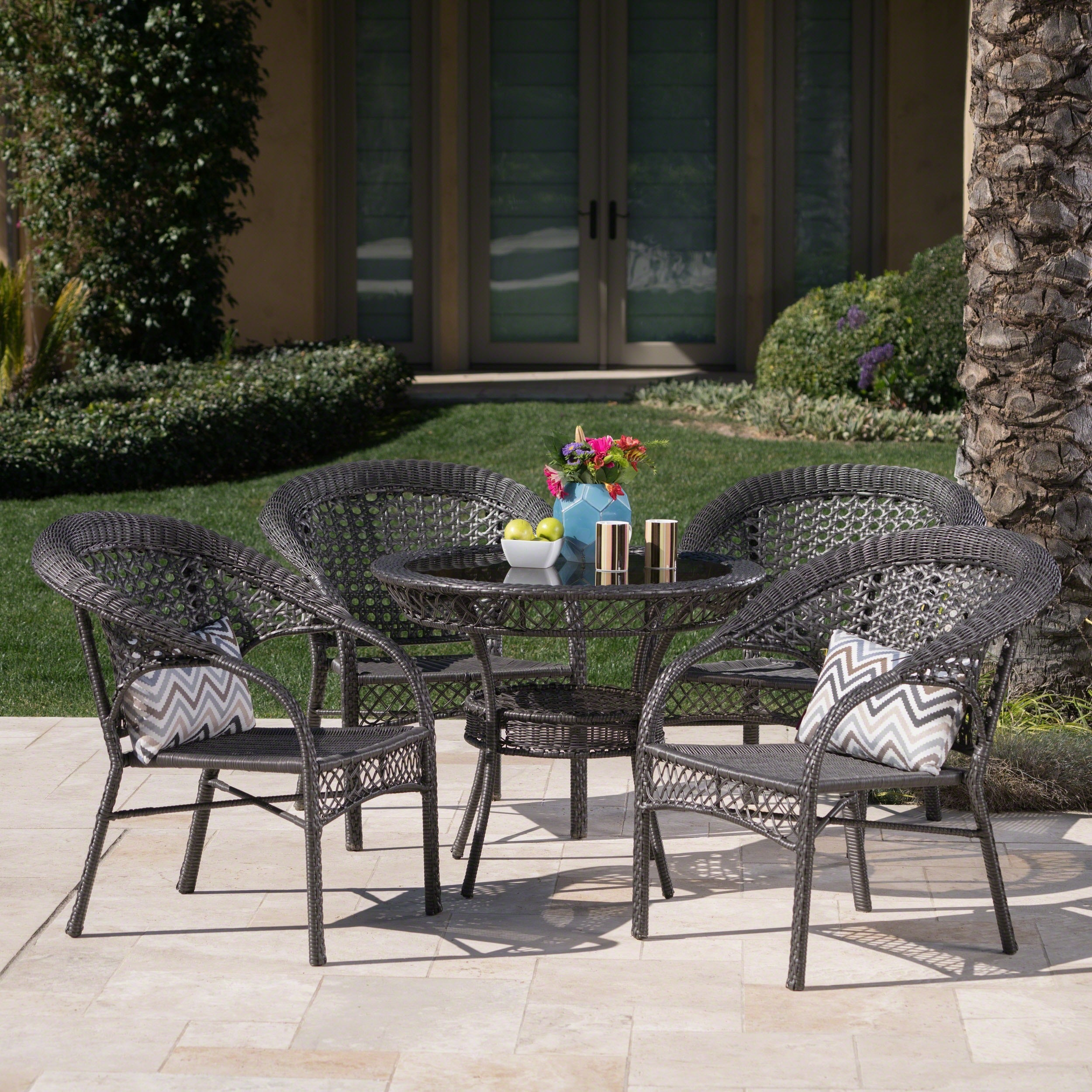 Shop Outdoor 5 Piece Wicker Dining Bistro Table Set By Christopher Knight  Home   Free Shipping Today   Overstock.com   5730276