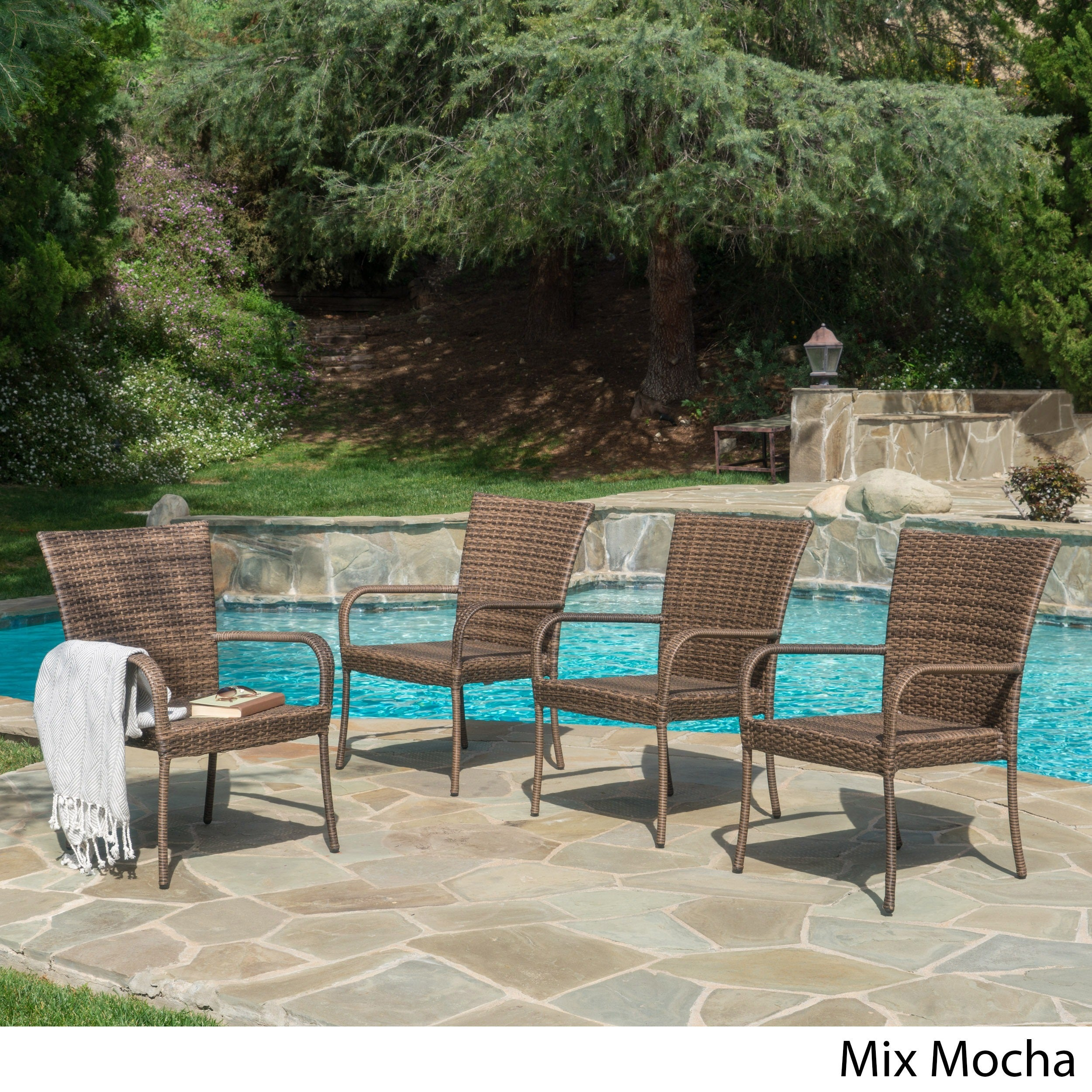Outdoor PE Wicker Stackable Arm Club Chairs (Set of 4) by ... for Stacking Rattan Garden Furniture  45ifm