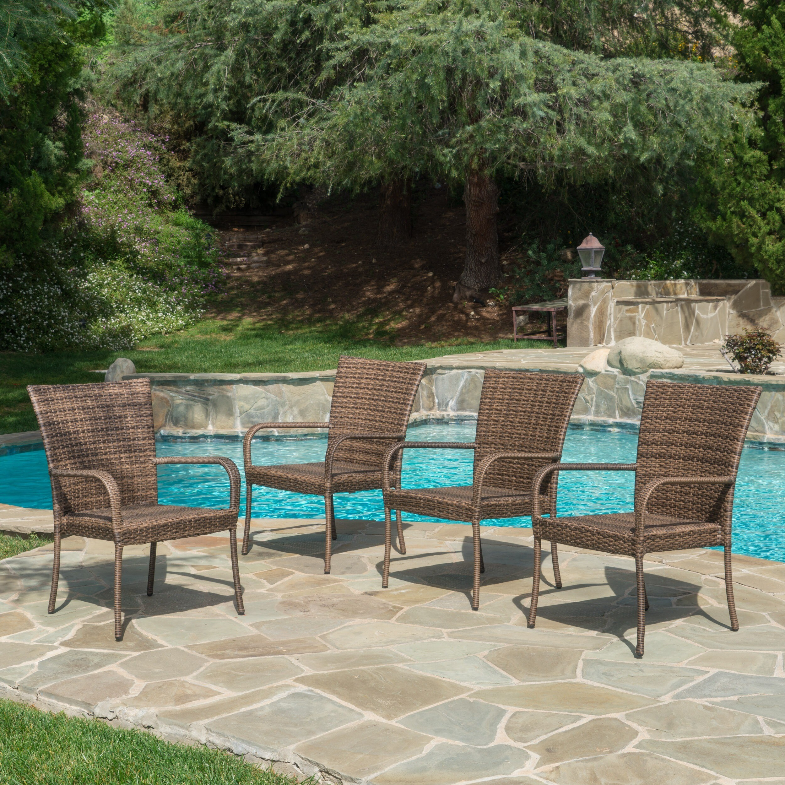 Shop Outdoor PE Wicker Stackable Arm Club Chairs Set Of 4 By Christopher Knight Home