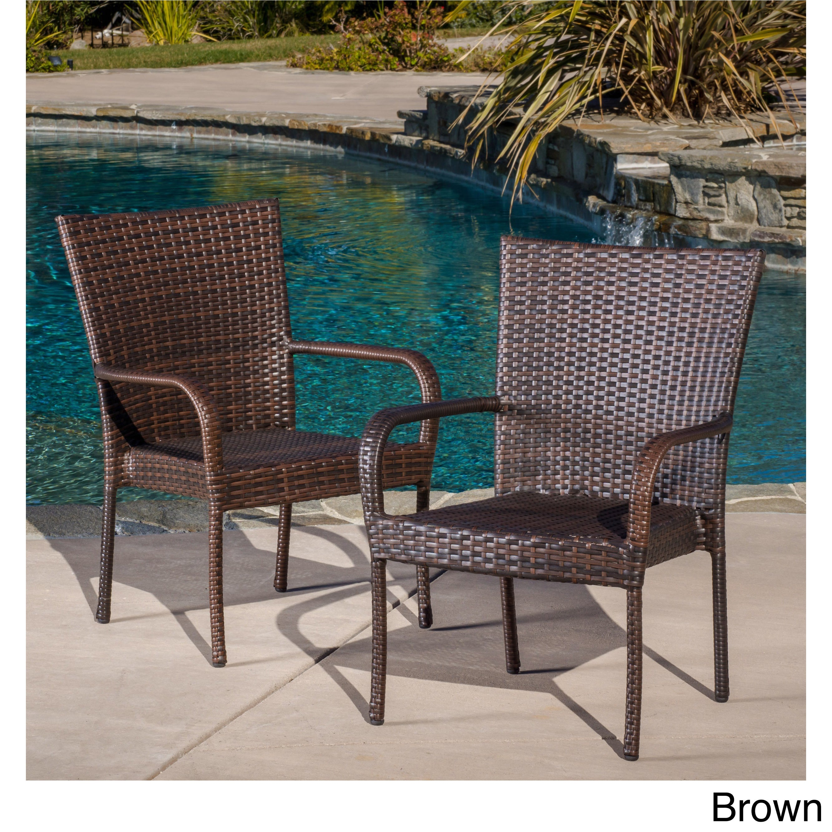 Shop Outdoor PE Wicker Stackable Club Chairs (Set Of 2) By Christopher  Knight Home   On Sale   Free Shipping Today   Overstock.com   5735179