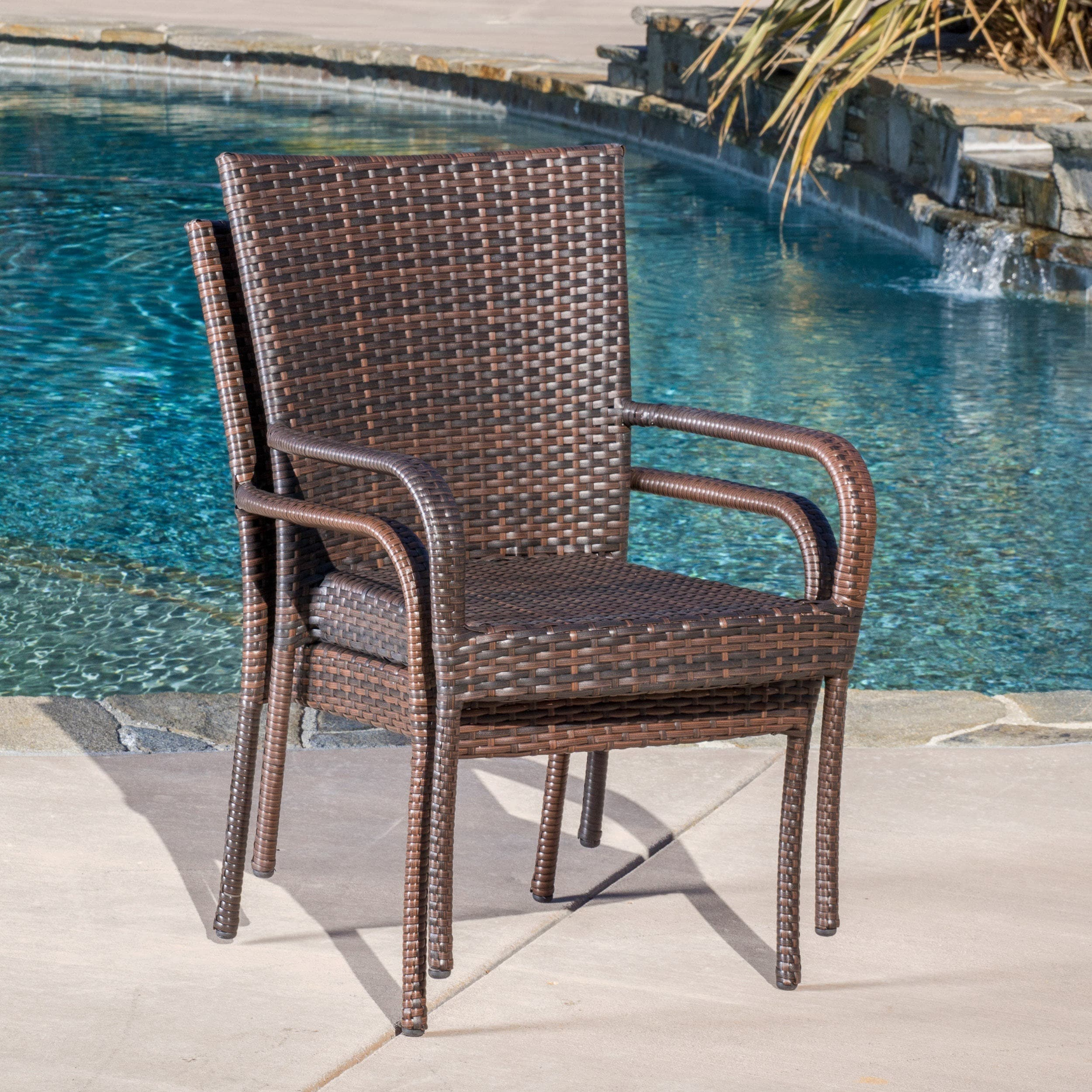 Outdoor PE Wicker Stackable Club Chairs (Set Of 2) By Christopher Knight  Home   Free Shipping Today   Overstock   13468674
