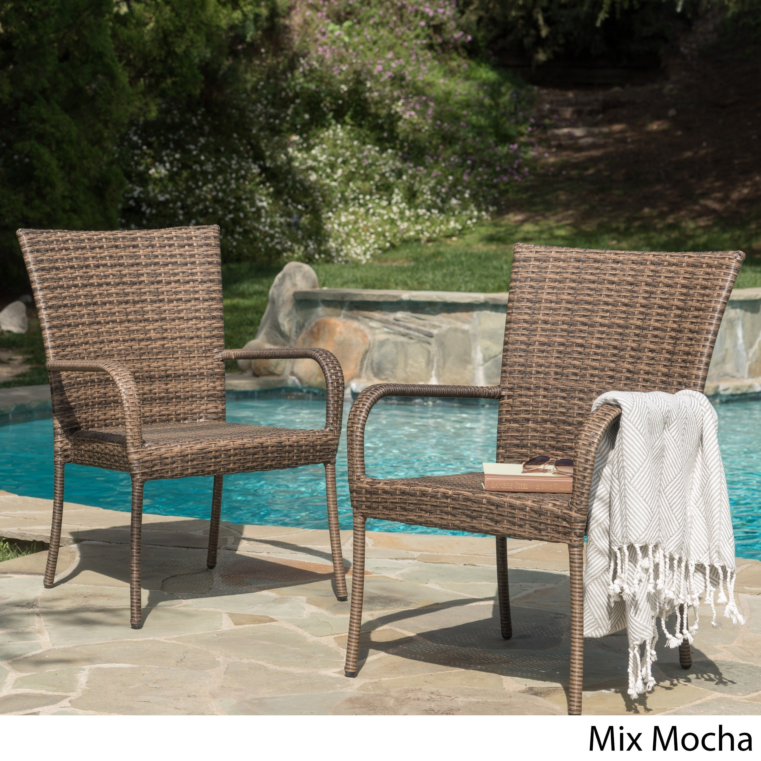 Outdoor Pe Wicker Stackable Club Chairs Set Of 2 By Christopher Knight Home Free Shipping Today 5735179