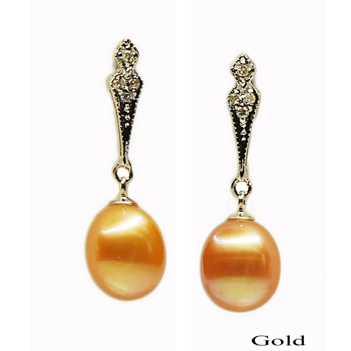 Kabella 14k Gold Freshwater Pearl and Diamond Accent Bridal Earrings ...